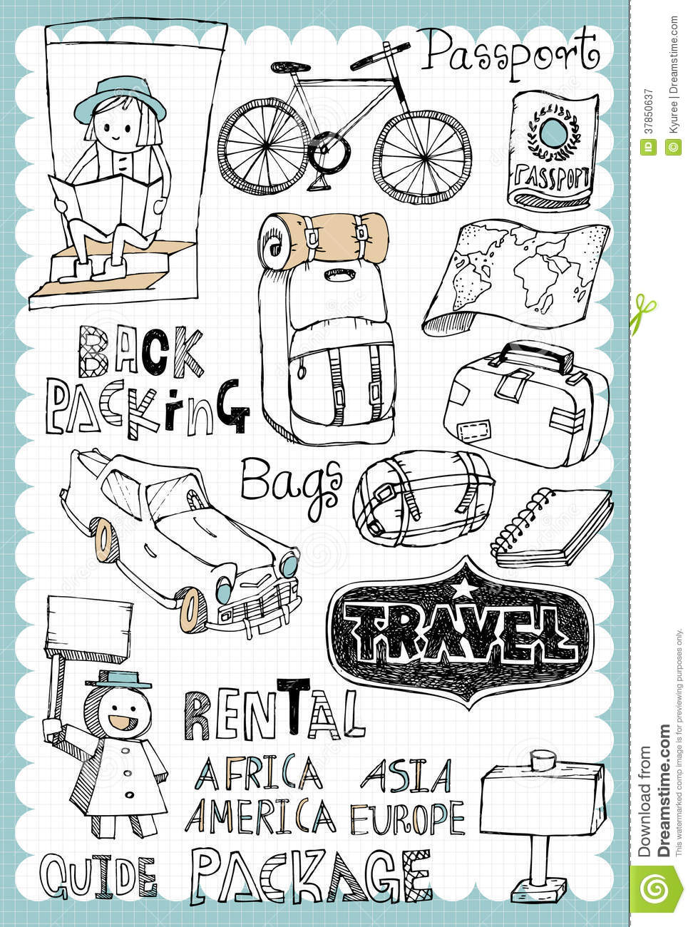 hand drawn travel set 02 stock vector illustration of bicycle