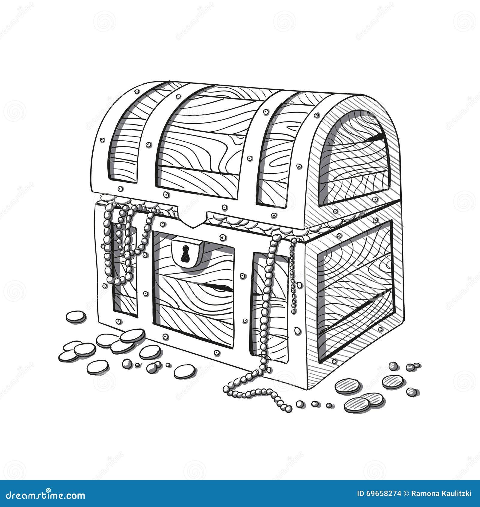 hand drawn treasure chest stock illustration illustration of gold