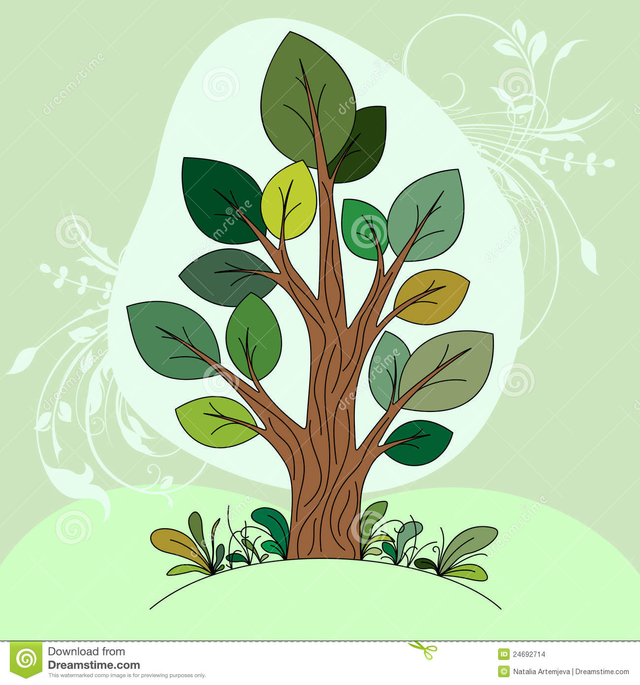 Hand drawn tree (color) stock vector. Illustration of brunch - 24692714