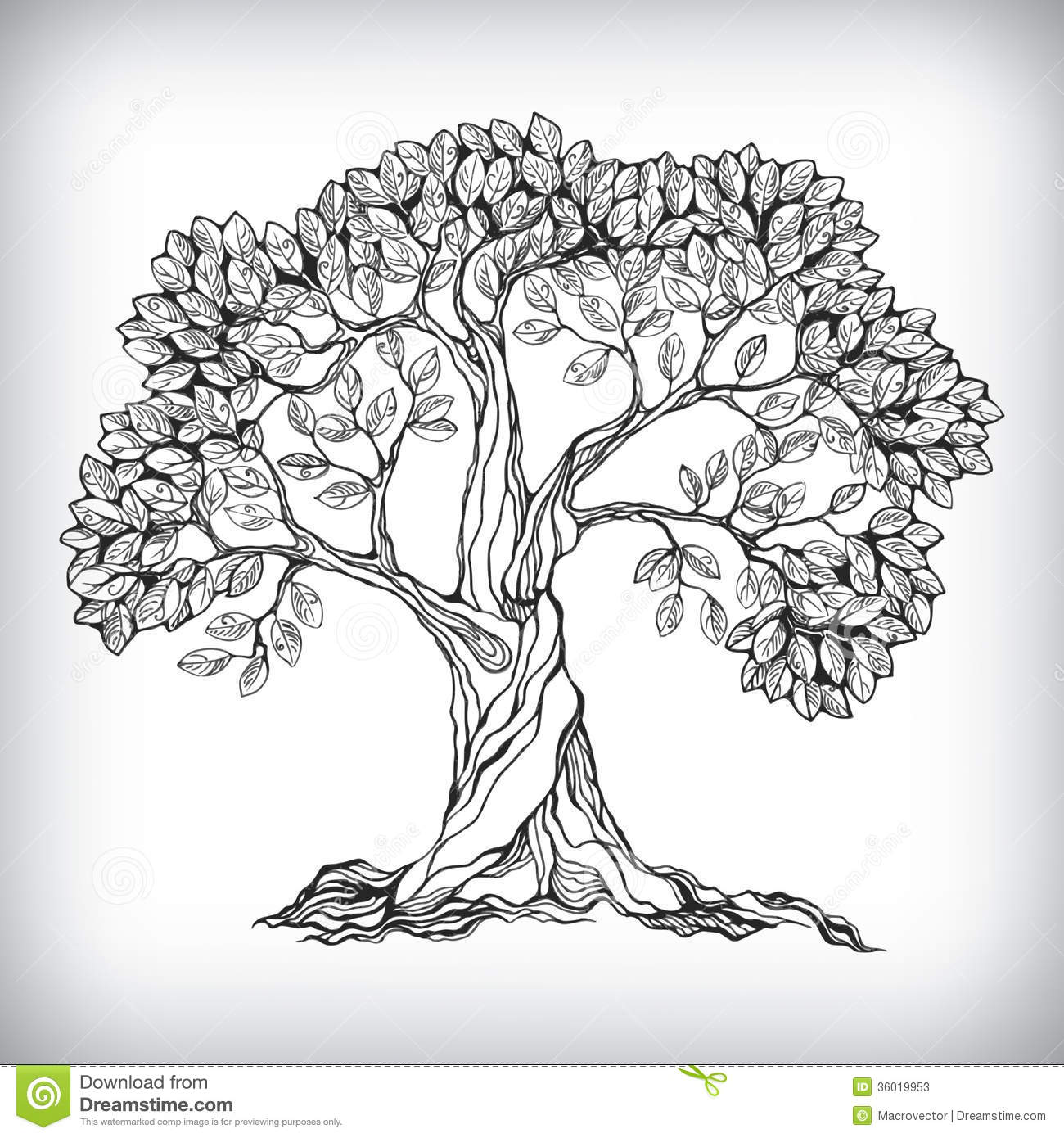 Line Art Of Trees : Hand drawn tree symbol stock vector illustration of black