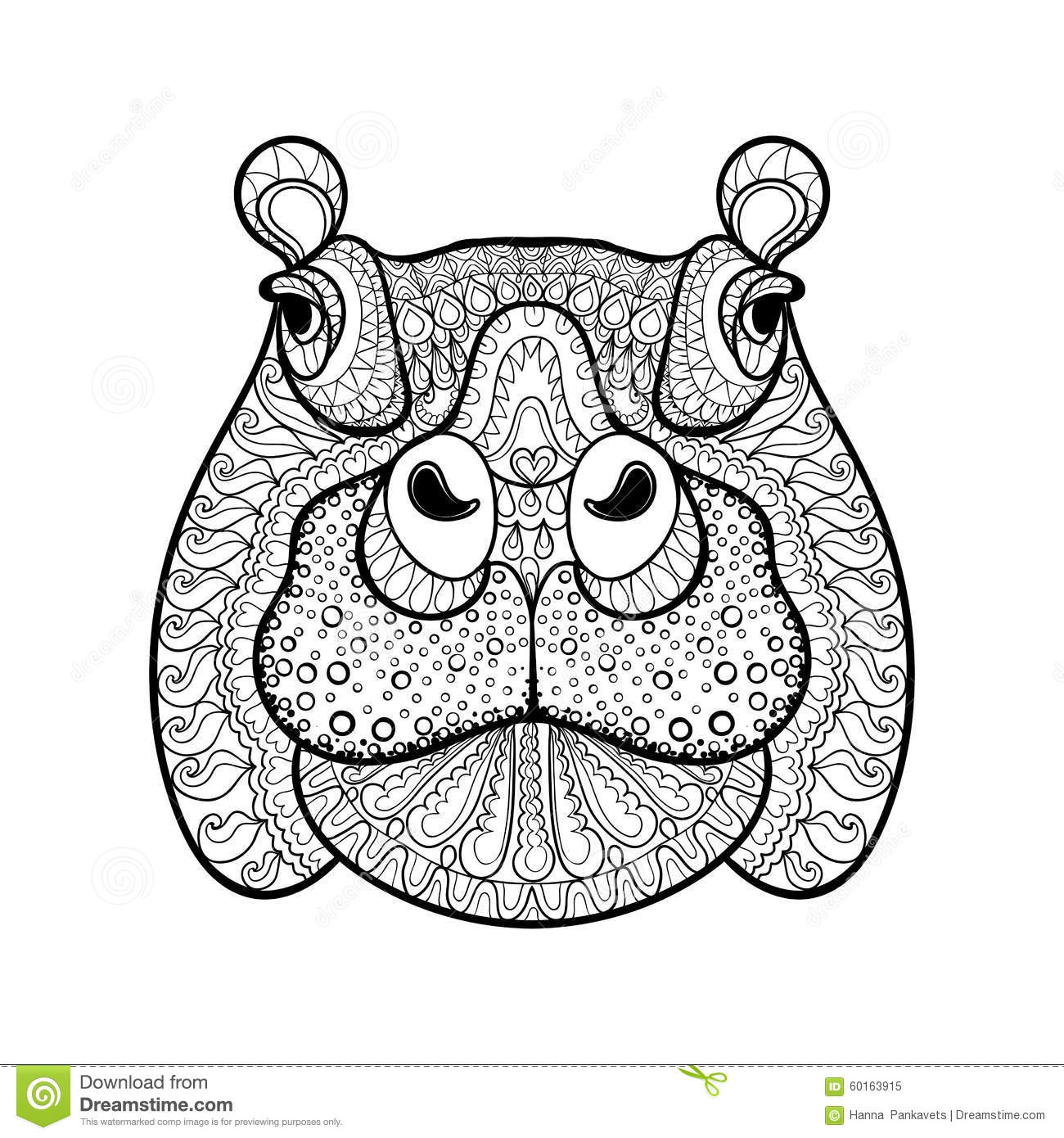 Hand Drawn Tribal Hippopotamus Head Animal Totem Stock Vector