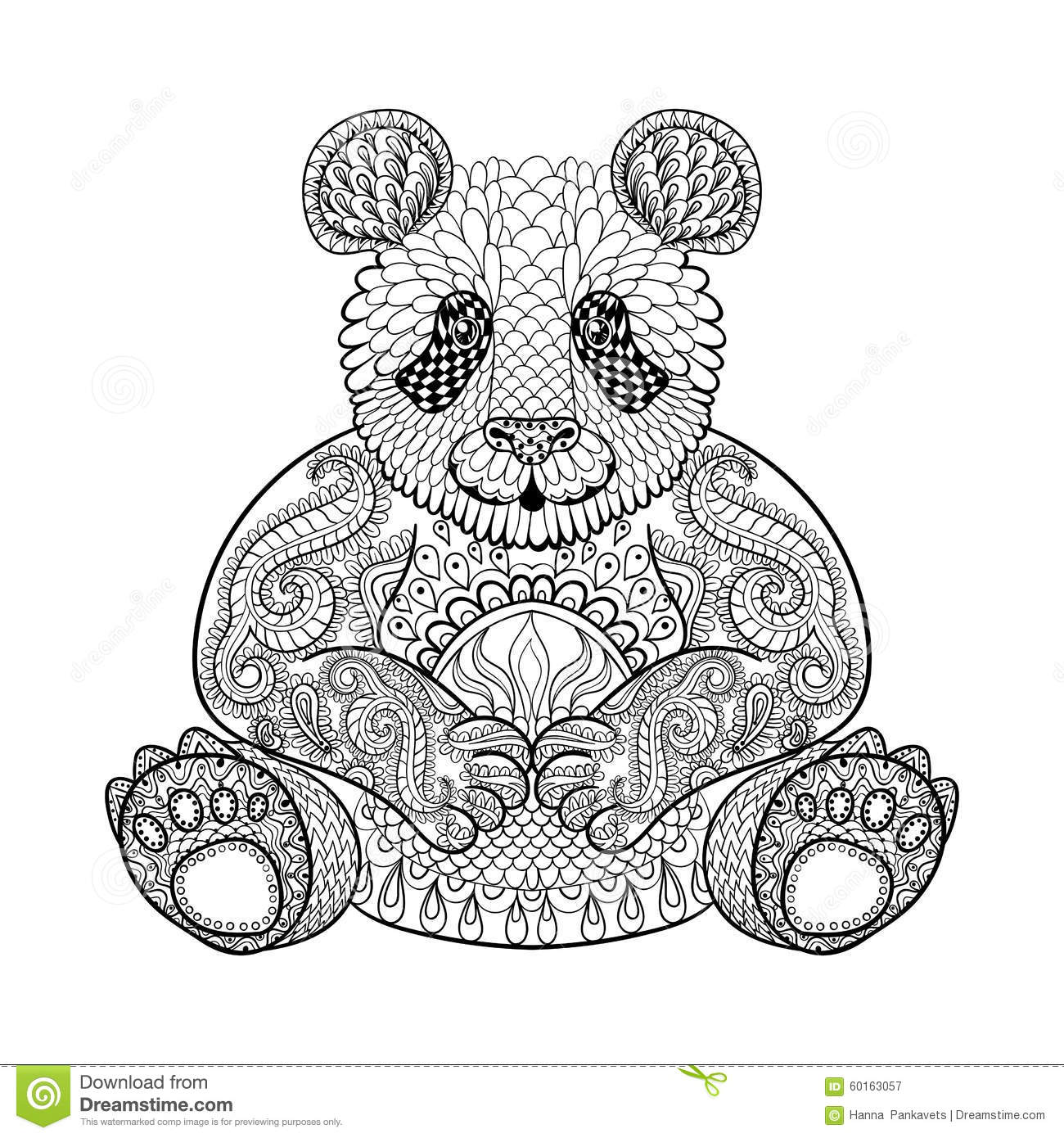 Zen colouring book animals - Hand Drawn Tribal Panda Animal Totem For Adult Coloring Page Download Image Zen Colouring