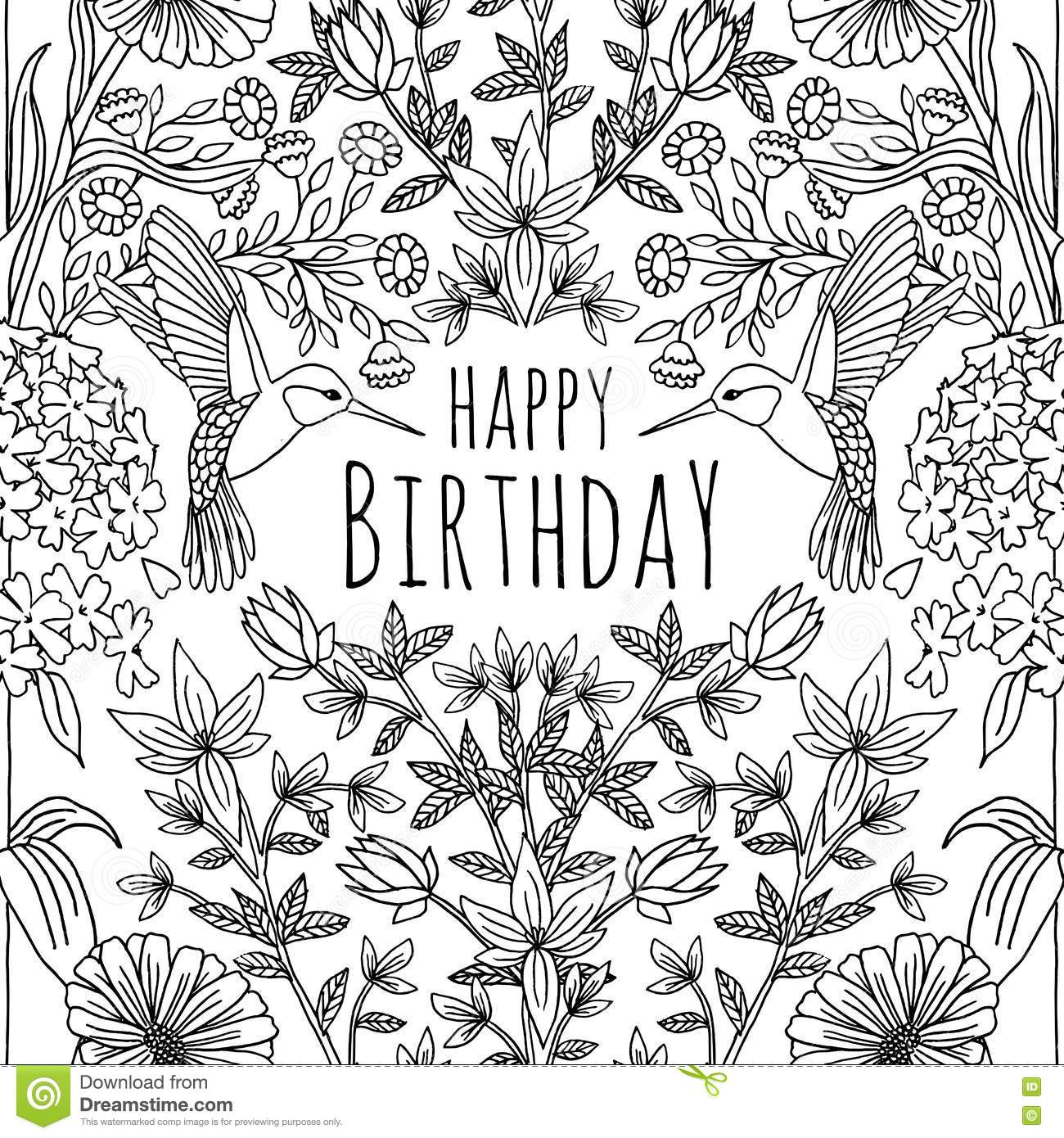Hand Drawn Tropical Birthday Card Design Stock Vector ...