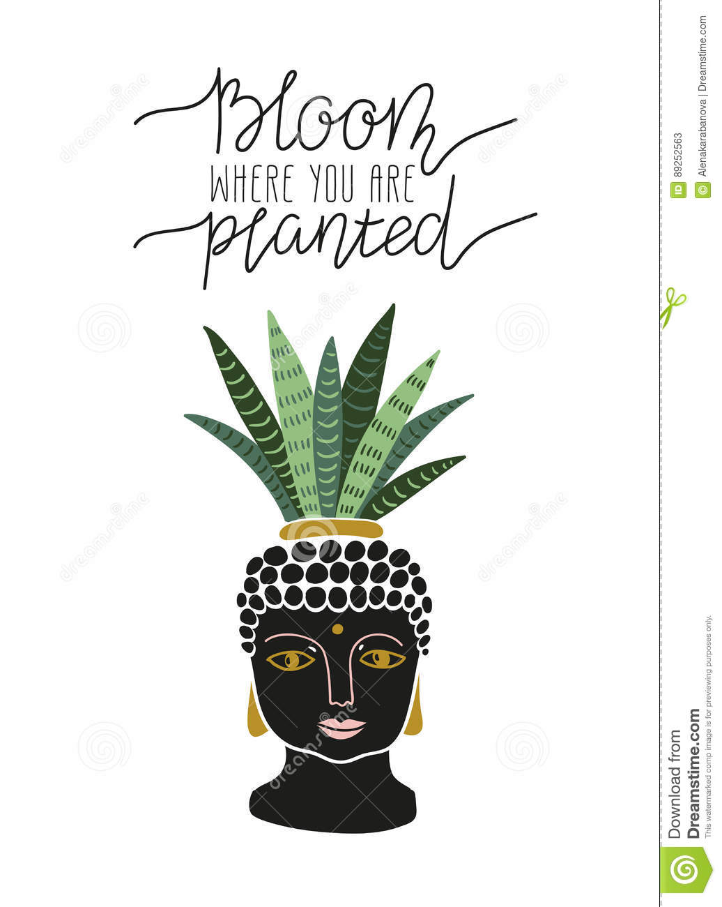 hand drawn tropical house plant in the pot with buddha face