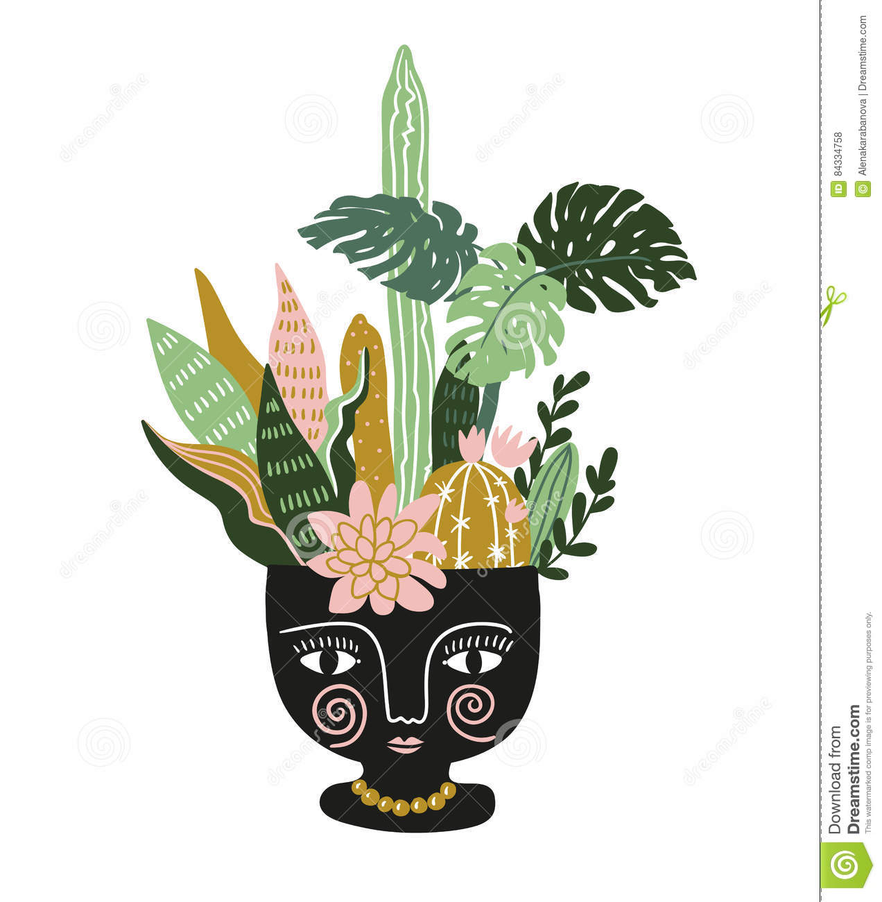 hand drawn tropical house plants in the ethnic ceramic pot