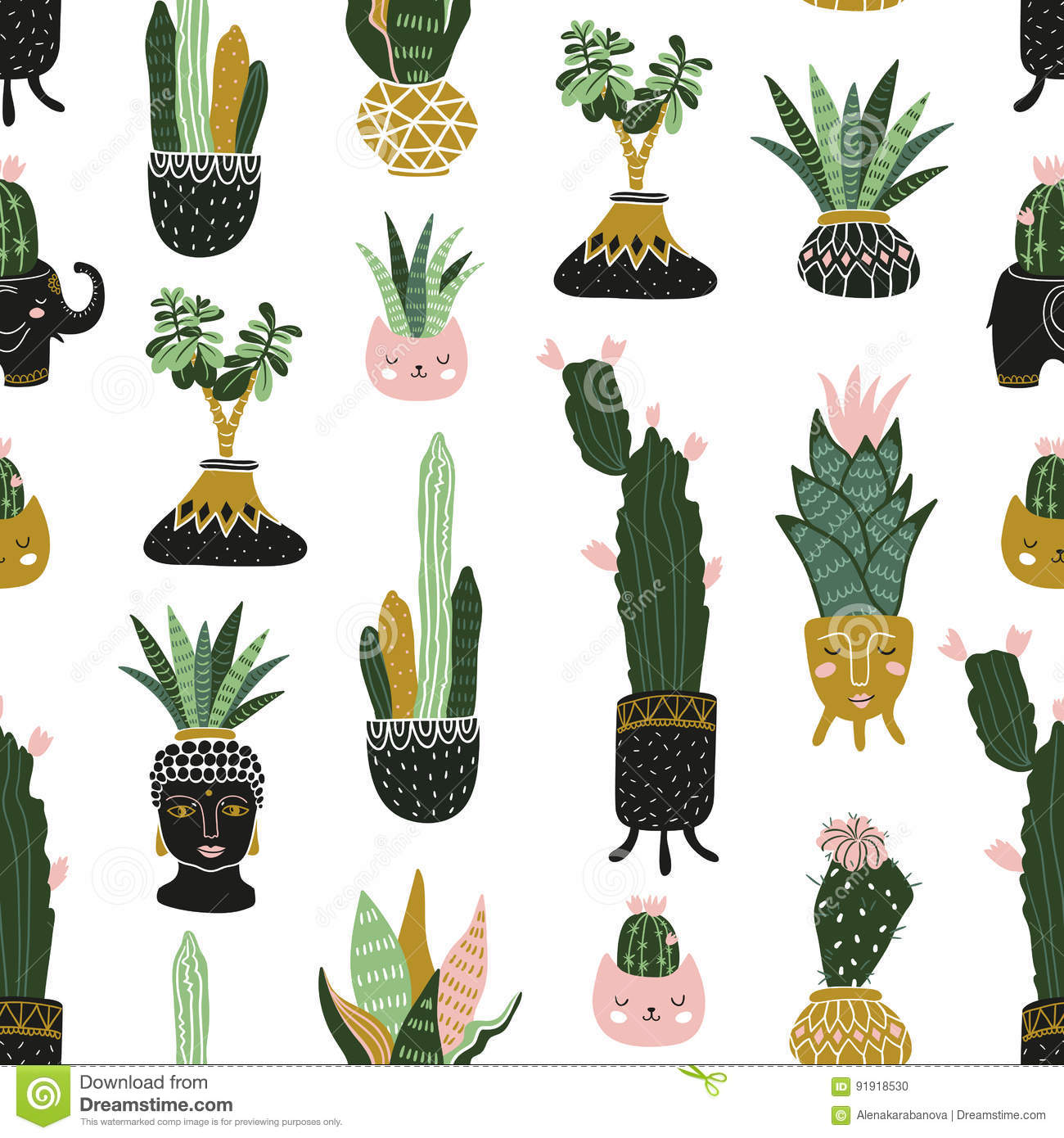 hand drawn tropical house plants. scandinavian style illustration
