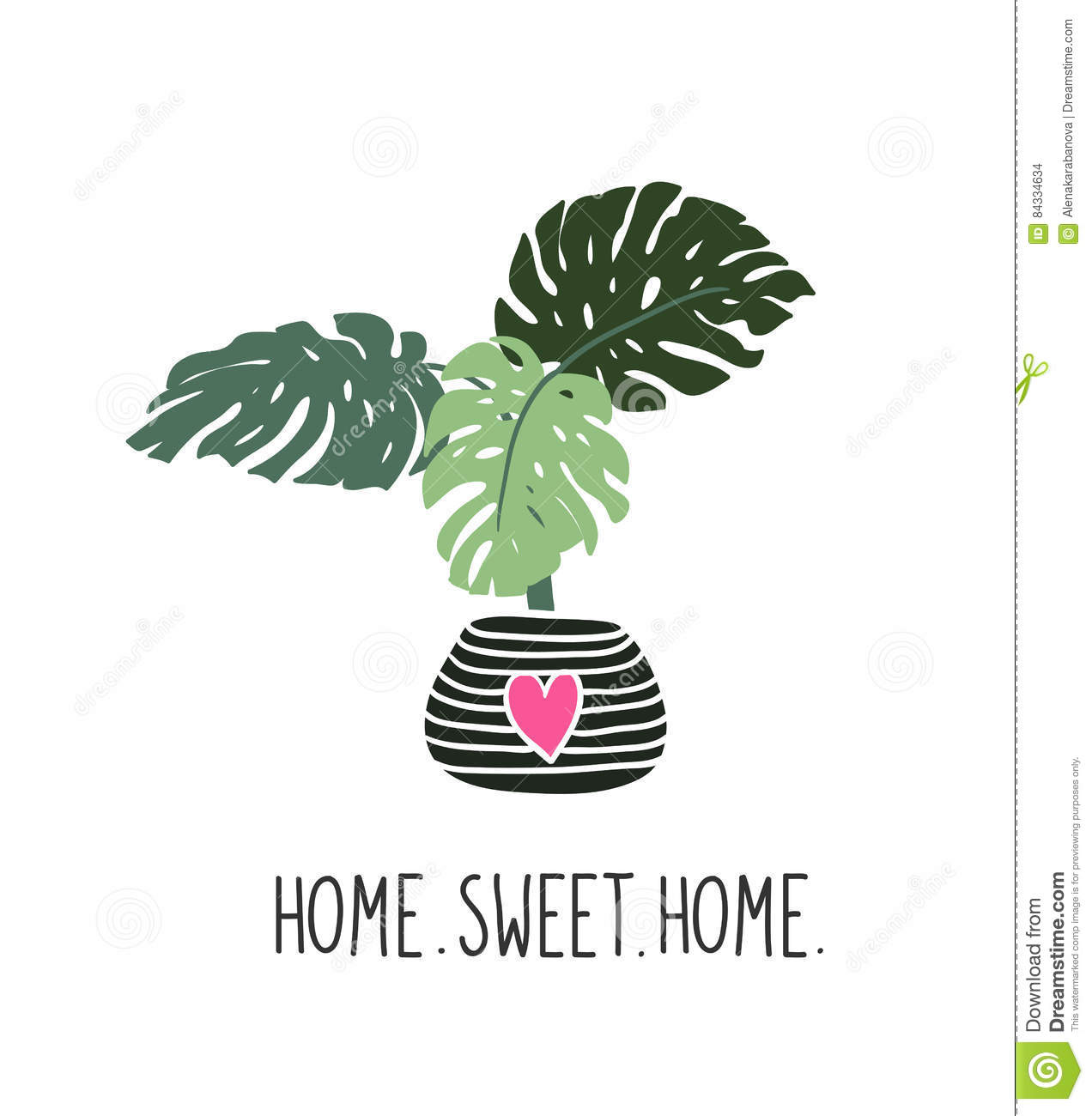 Hand drawn tropical house plants. Scandinavian style illustration. Vector print design with lettering - `home sweet home`.