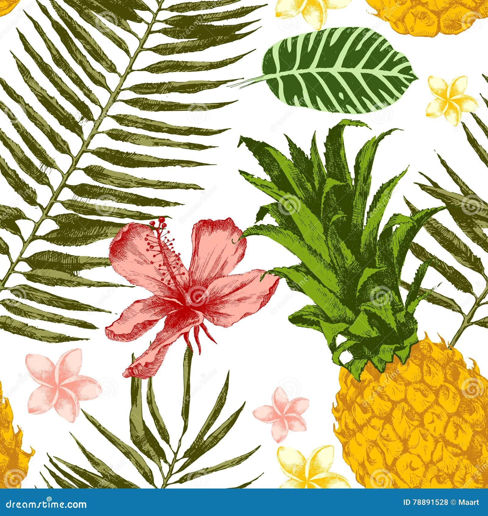 Hand drawn tropical seamless