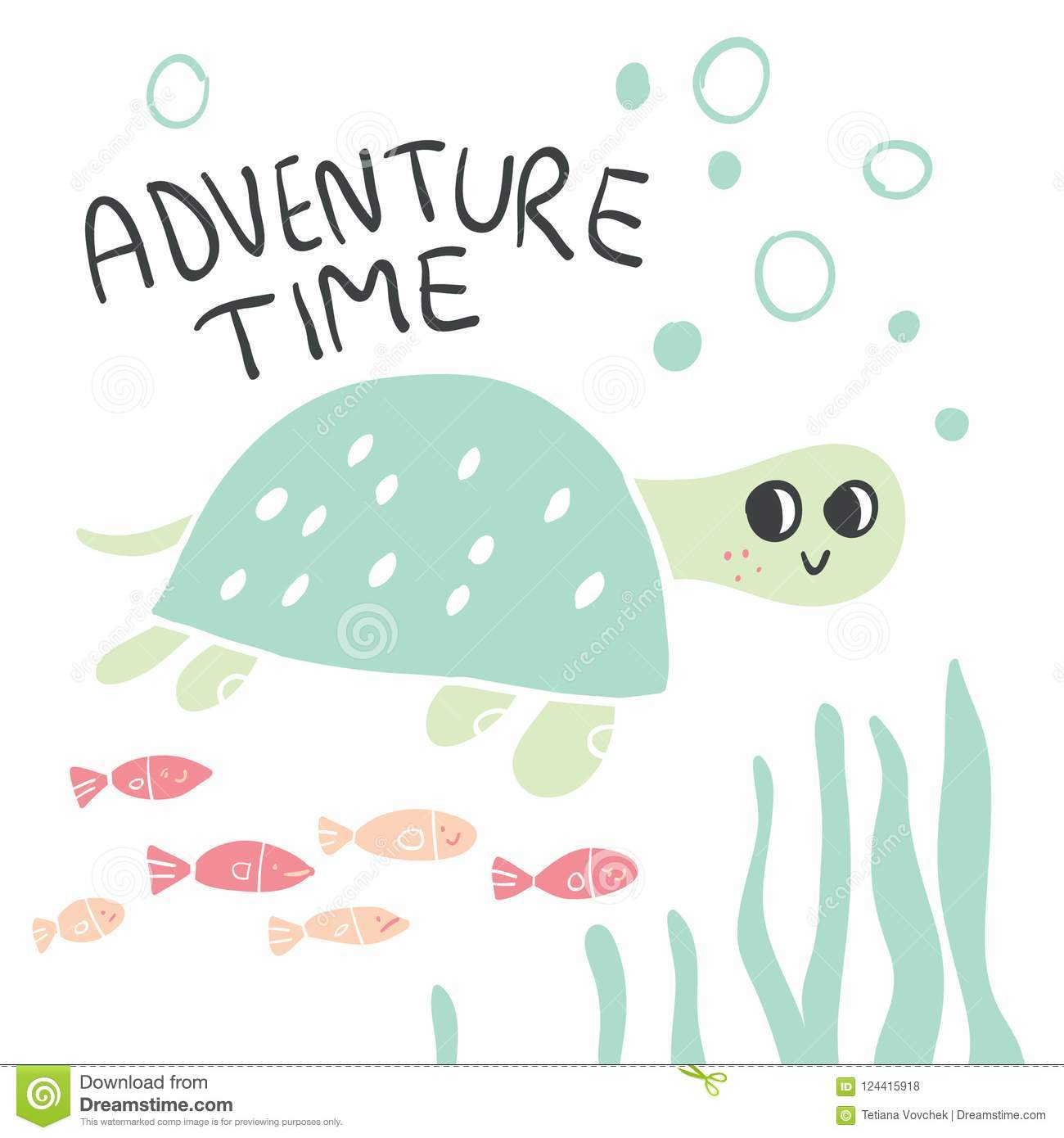 ffd9fa6a5a97 Hand Drawn Turtle With Lettering And Fish Illustration Stock Vector ...