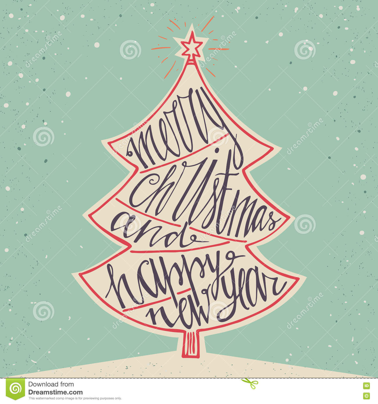 merry christmas and happy new year background hand lettering for