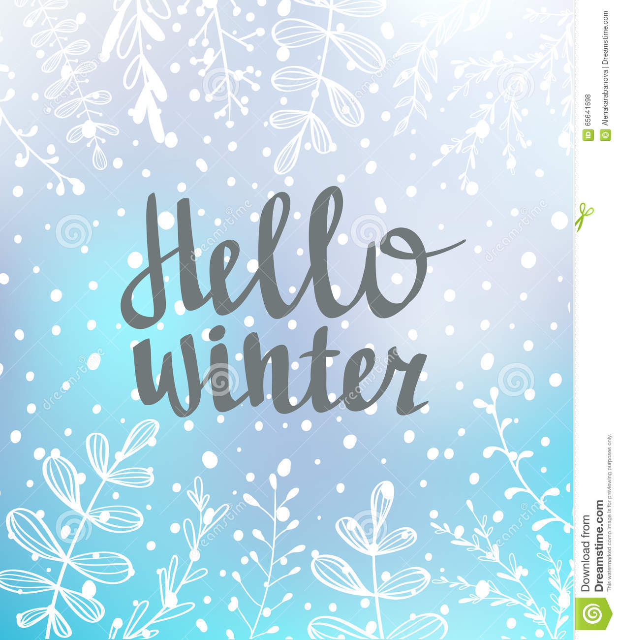 Hand drawn typography card. Hello winter hand-lettering on blue background with snow.