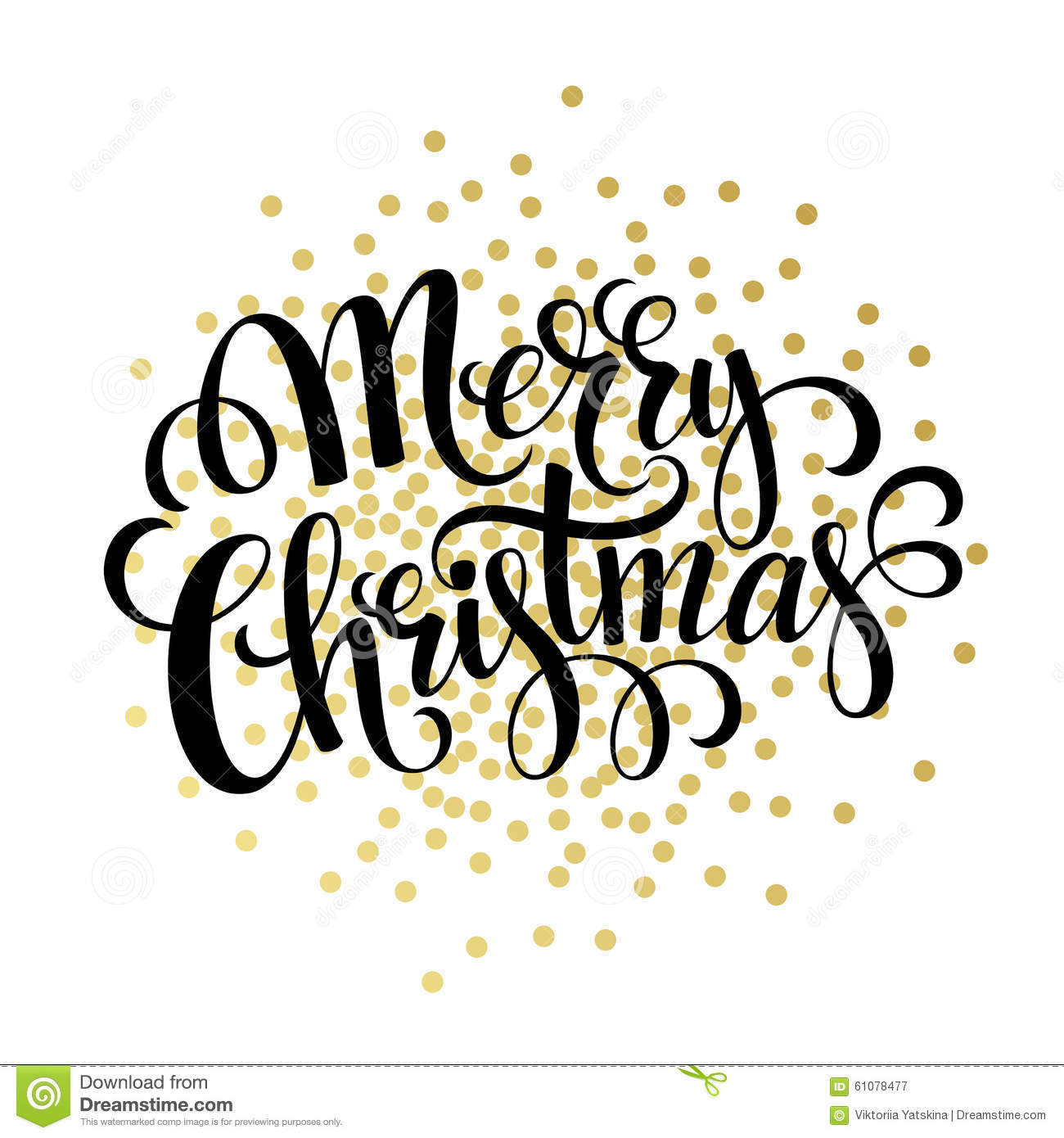 Hand drawn typography card. Merry christmas greetings gold glitter ...