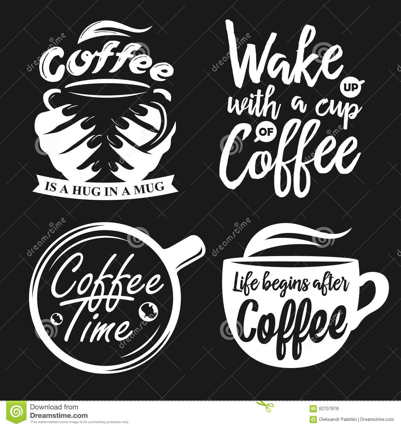 hand drawn typography coffee posters set stock vector