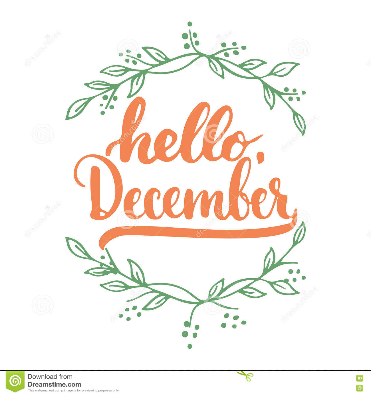 Hand drawn typography lettering phrase Hello, December isolated on the white background with leaves. Fun brush ink