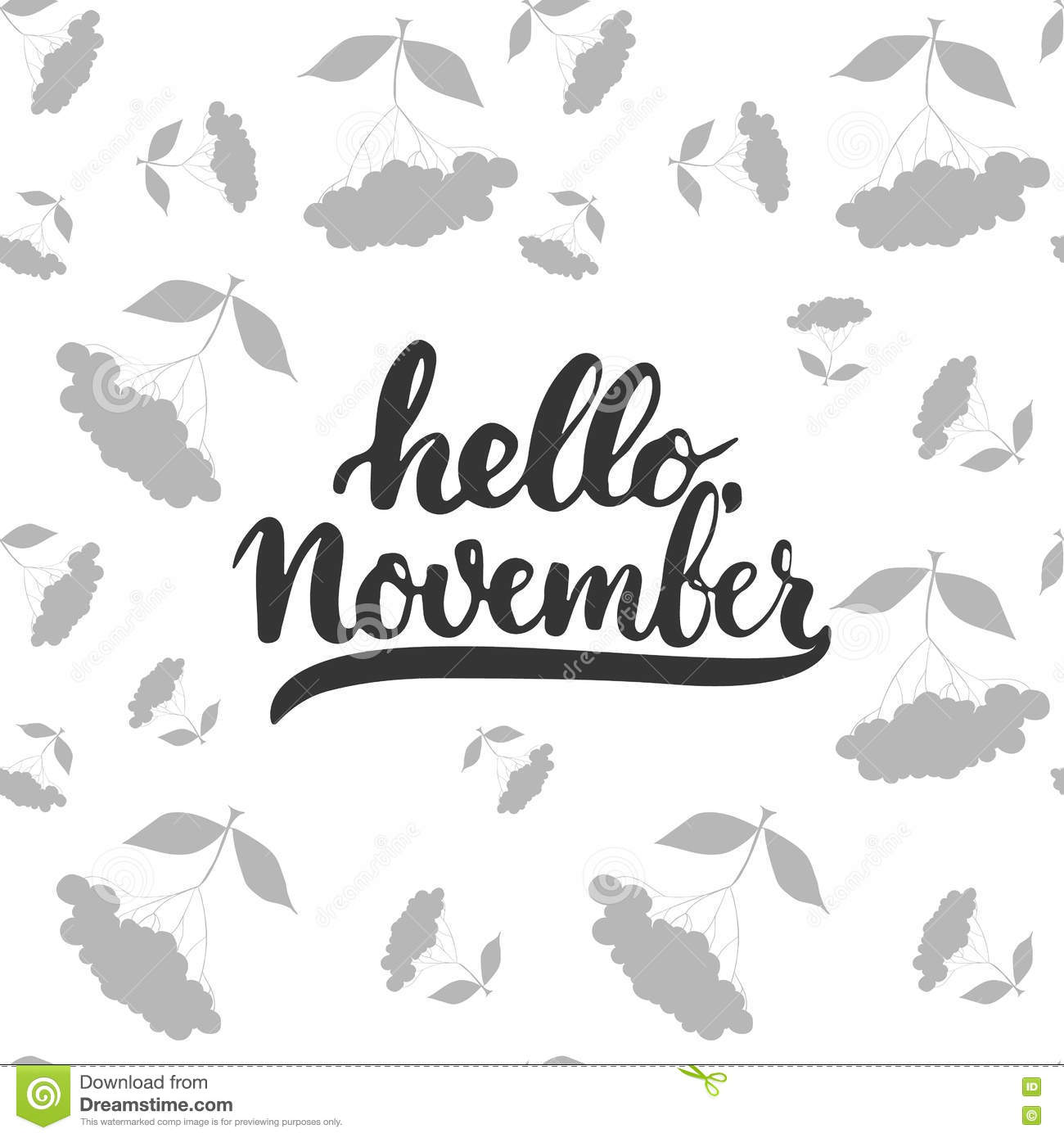 Hand Drawn Typography Lettering Phrase Hello November