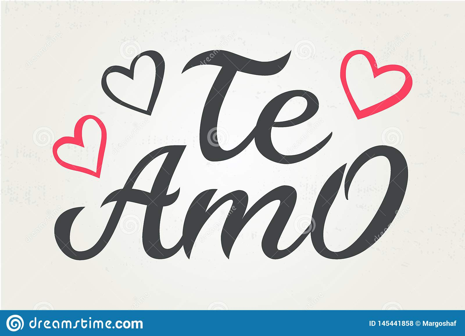 Hand drawn typography lettering Te amo. Te amo - I love you in Spanish, romantic decorative lettering. Vector Valentine