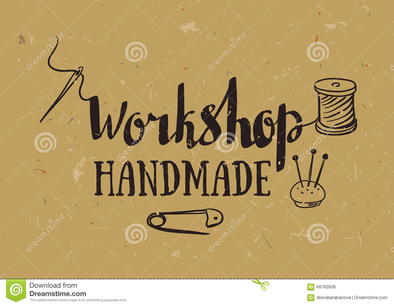 Poster design handmade - Hand Drawn Typography Poster With Dressmaking Accessories And Stylish Lettering Workshop Handmade