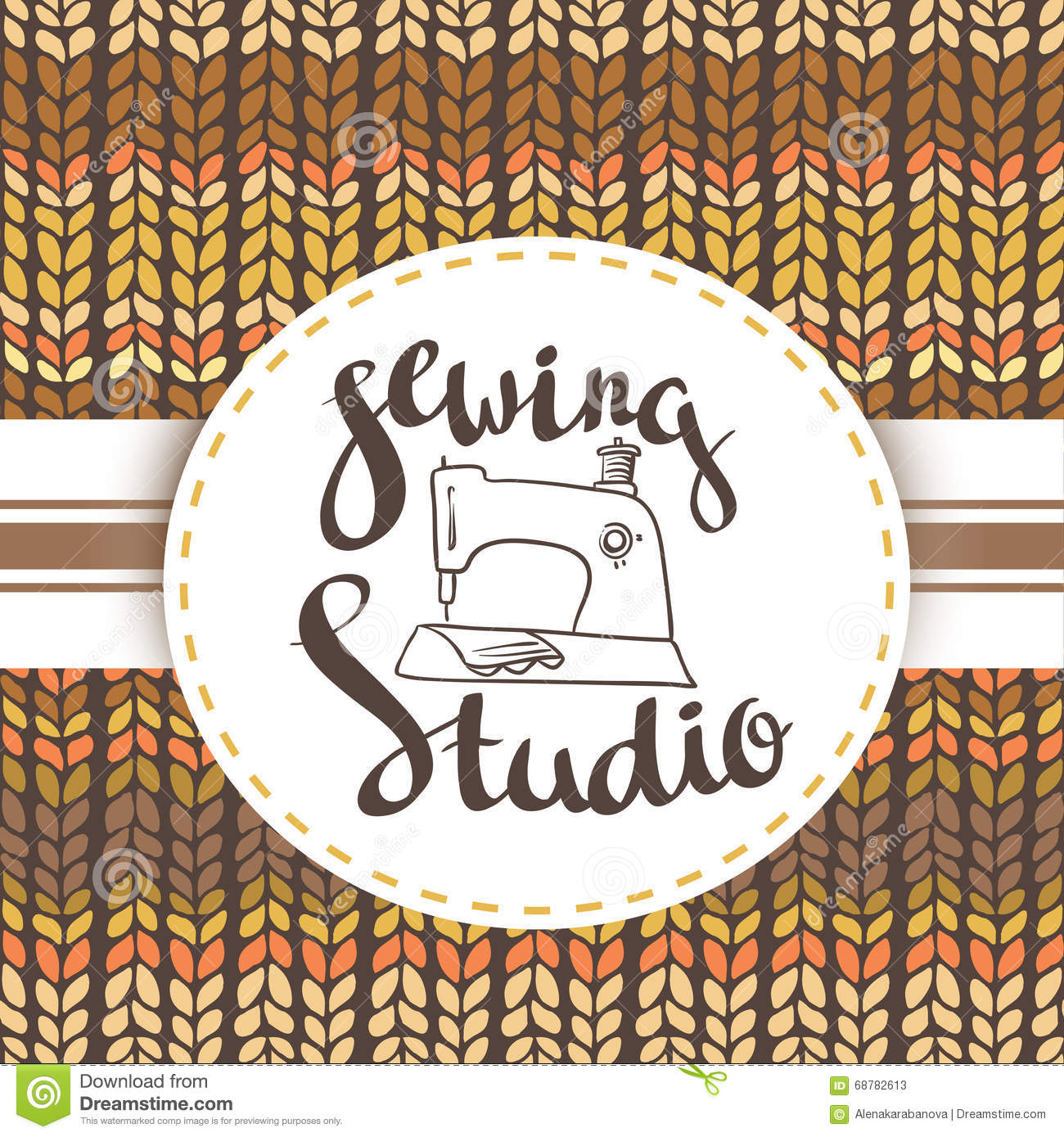 hand drawn typography poster with sewing machine and stylish lettering sewing studio stock