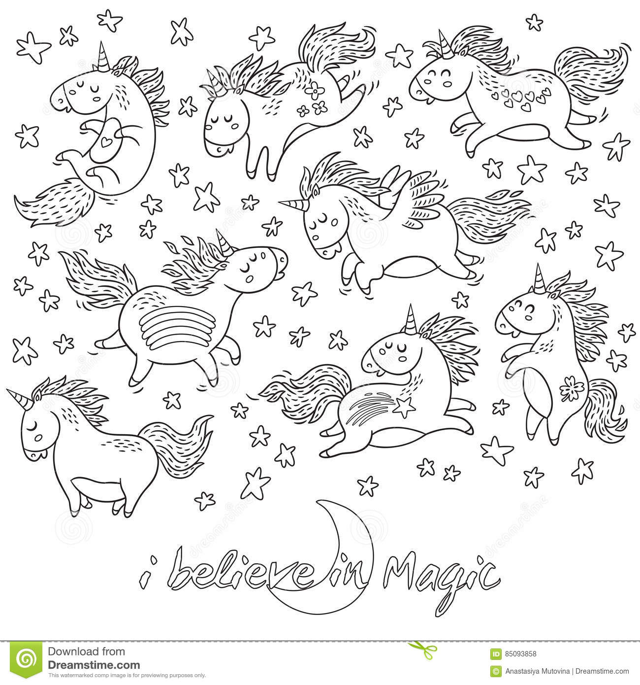 Hand Drawn Unicorns, Rainbow And Stars In Outline. Stock Vector ...