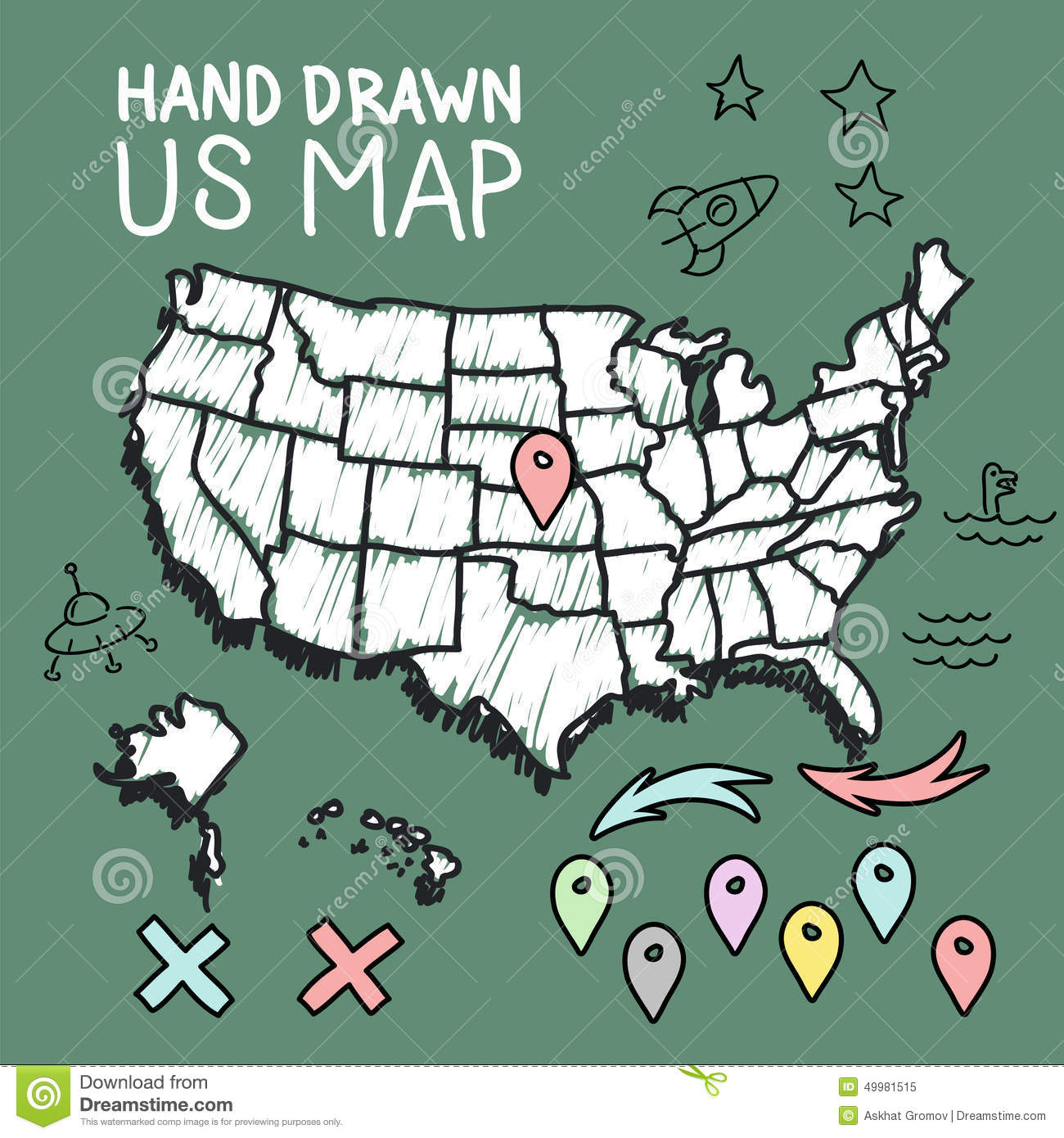 Hand Drawn US Map With Pins Stock Vector Image - Hand drawn us map vector