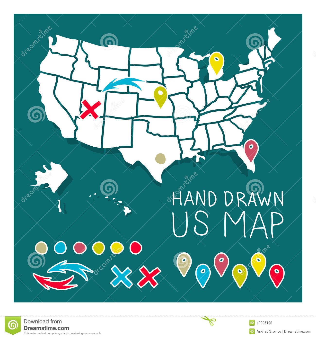 Hand Drawn US Map With Pins Illustration Image 49986198 – Travel Map Of Us