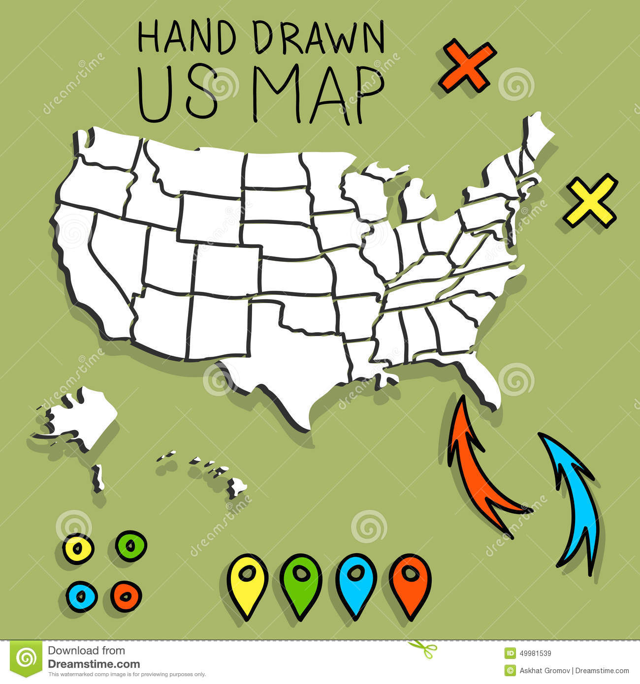 hand drawn us map with pins stock vector illustration of sketch
