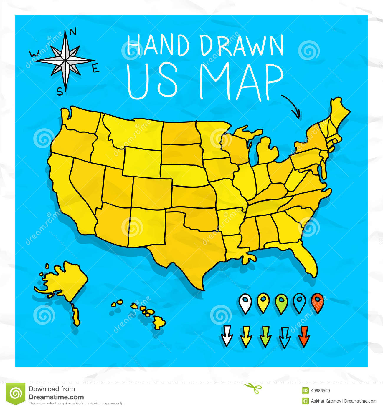 Hand Drawn US Map With Pins Stock Vector Image - Map of us vector