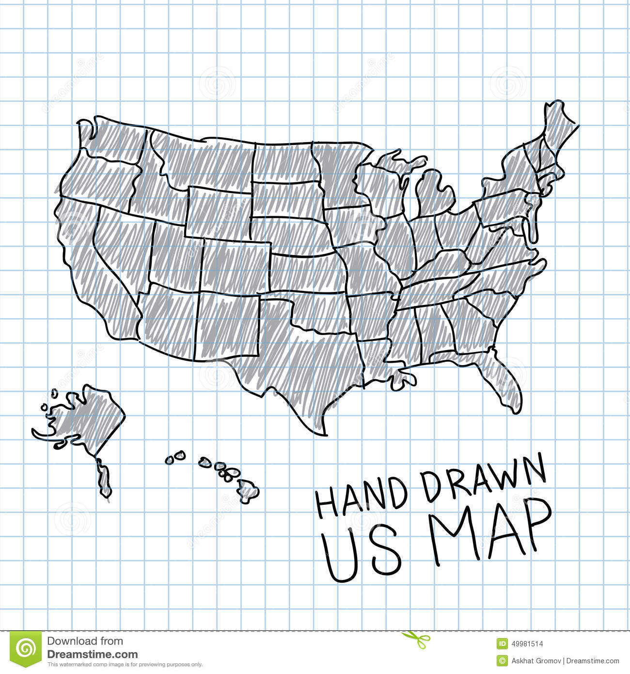 Hand Drawn US Map Stock Vector Image - Hand drawn us map vector
