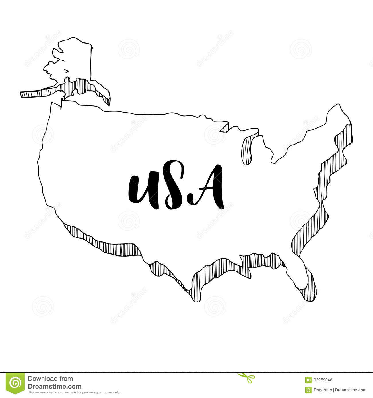 Hand Drawn Us Map.Hand Drawn Of Usa Map Illustration Stock Illustration