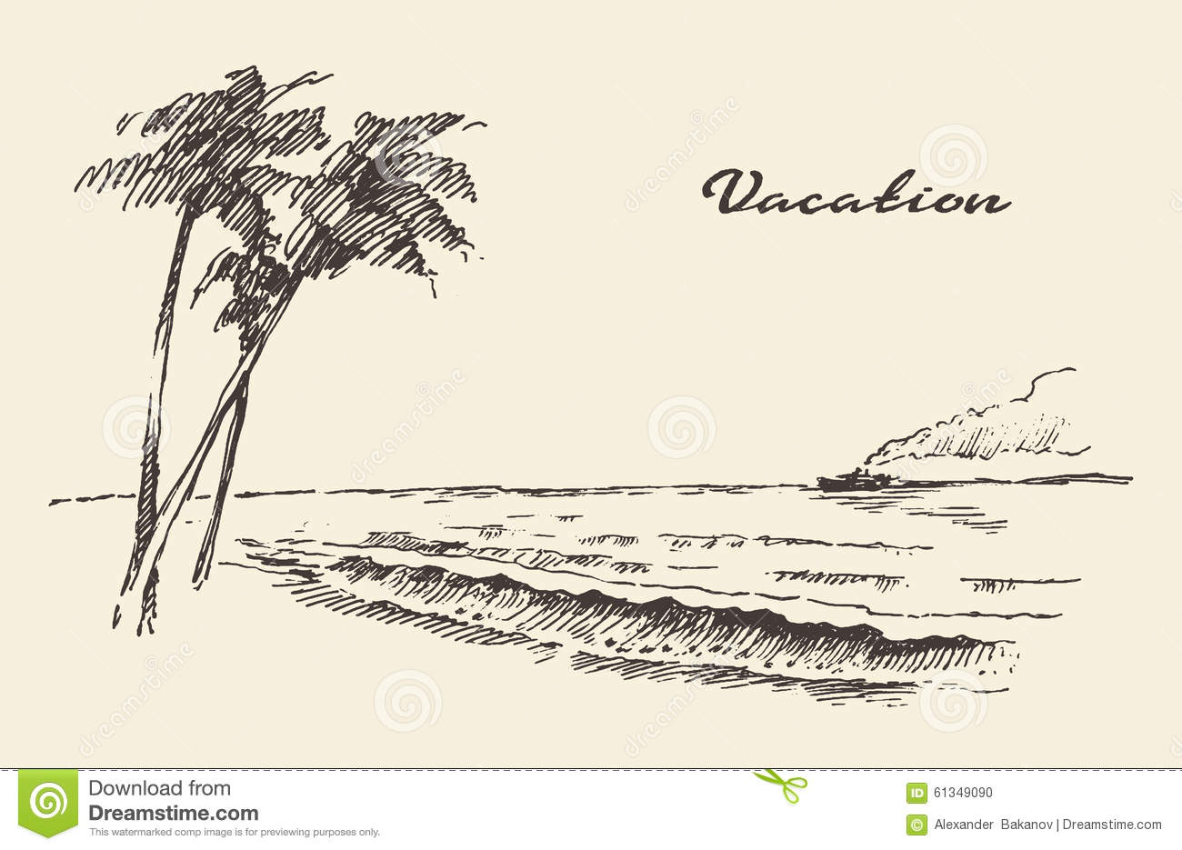 Hand drawn vacation poster seaside beach sketch stock for Sketch online free