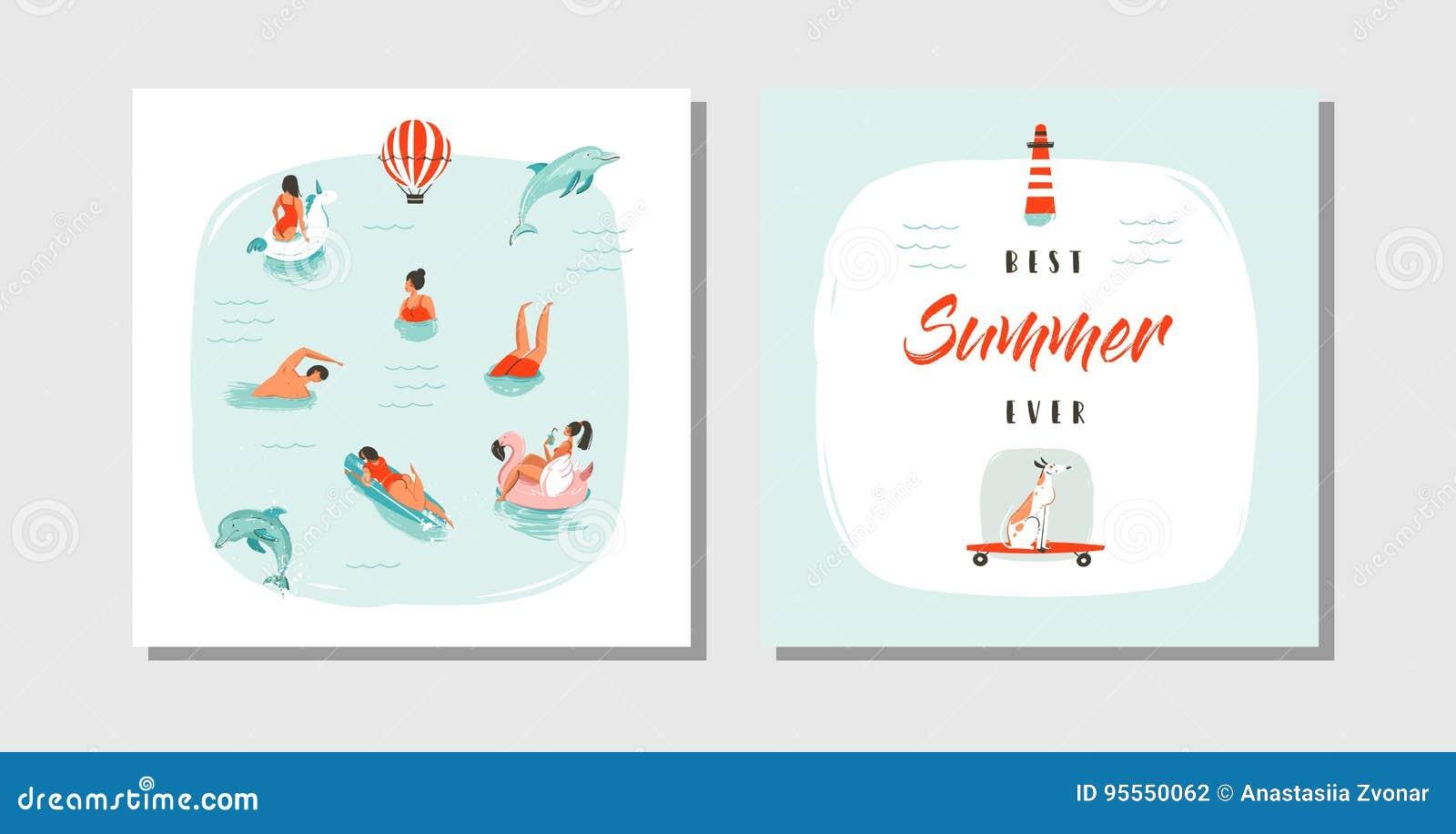 hand drawn vector abstract cartoon summer time fun cards