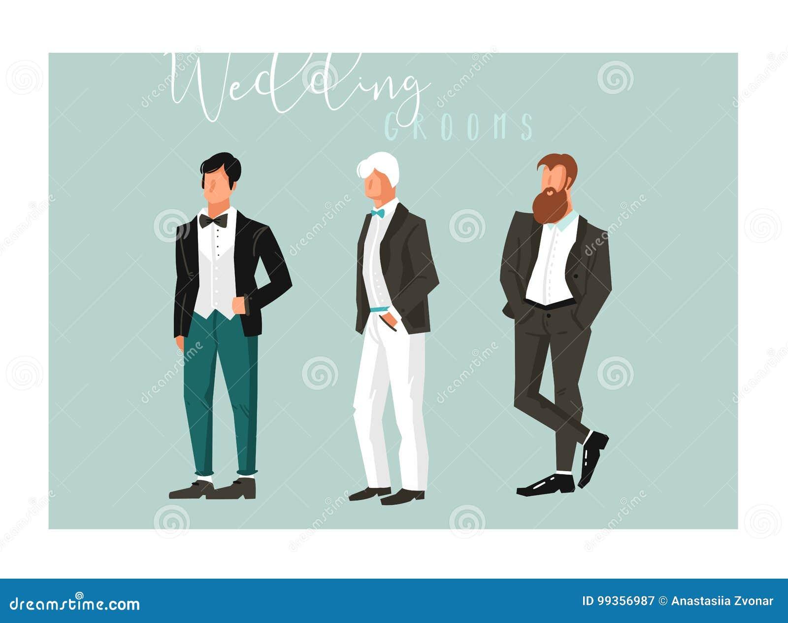 Hand Drawn Vector Abstract Cartoon Wedding Groom Illustrations ...