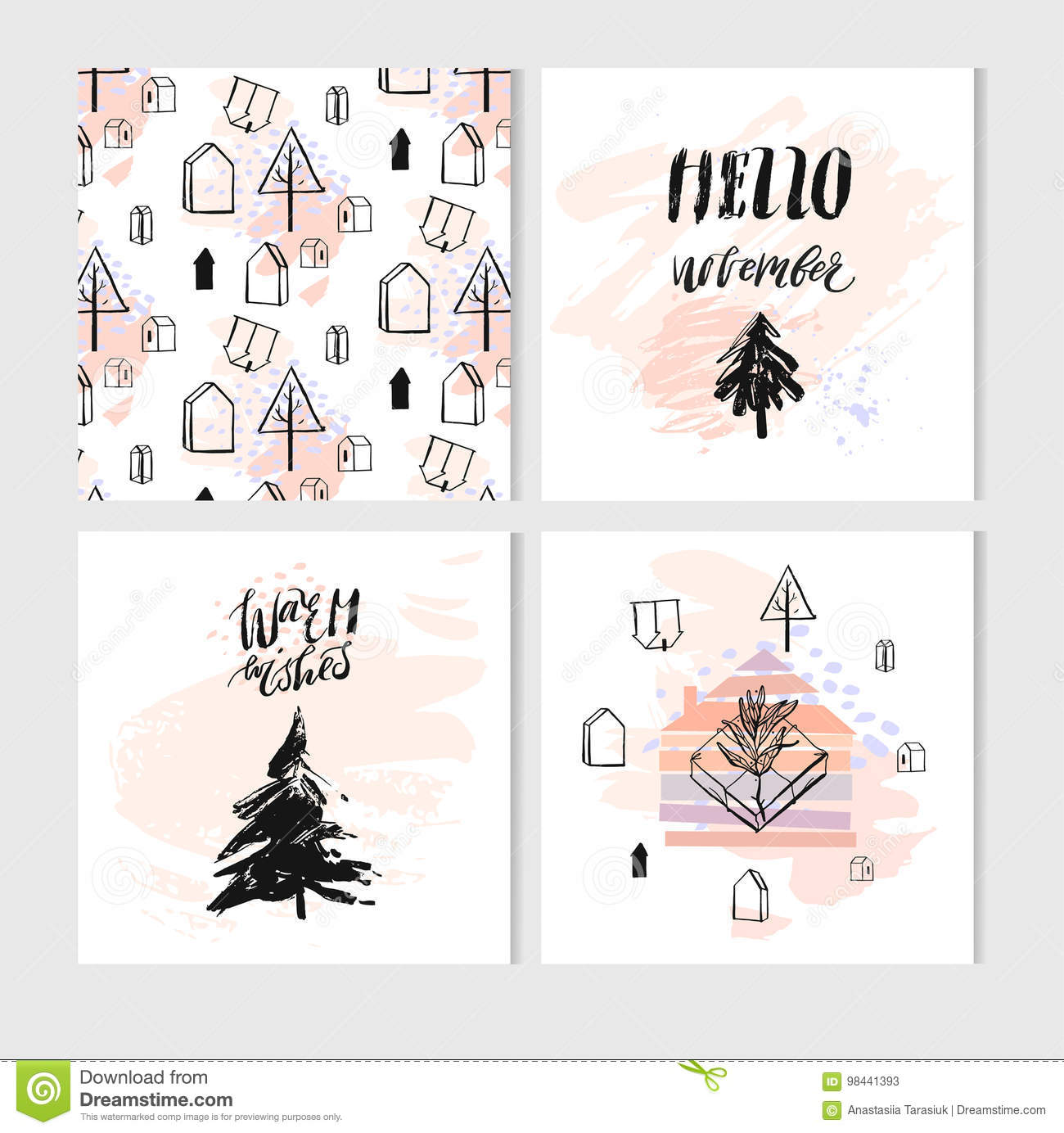 Hand Drawn Vector Abstract Christmas Greeting Cards Stock Vector ...