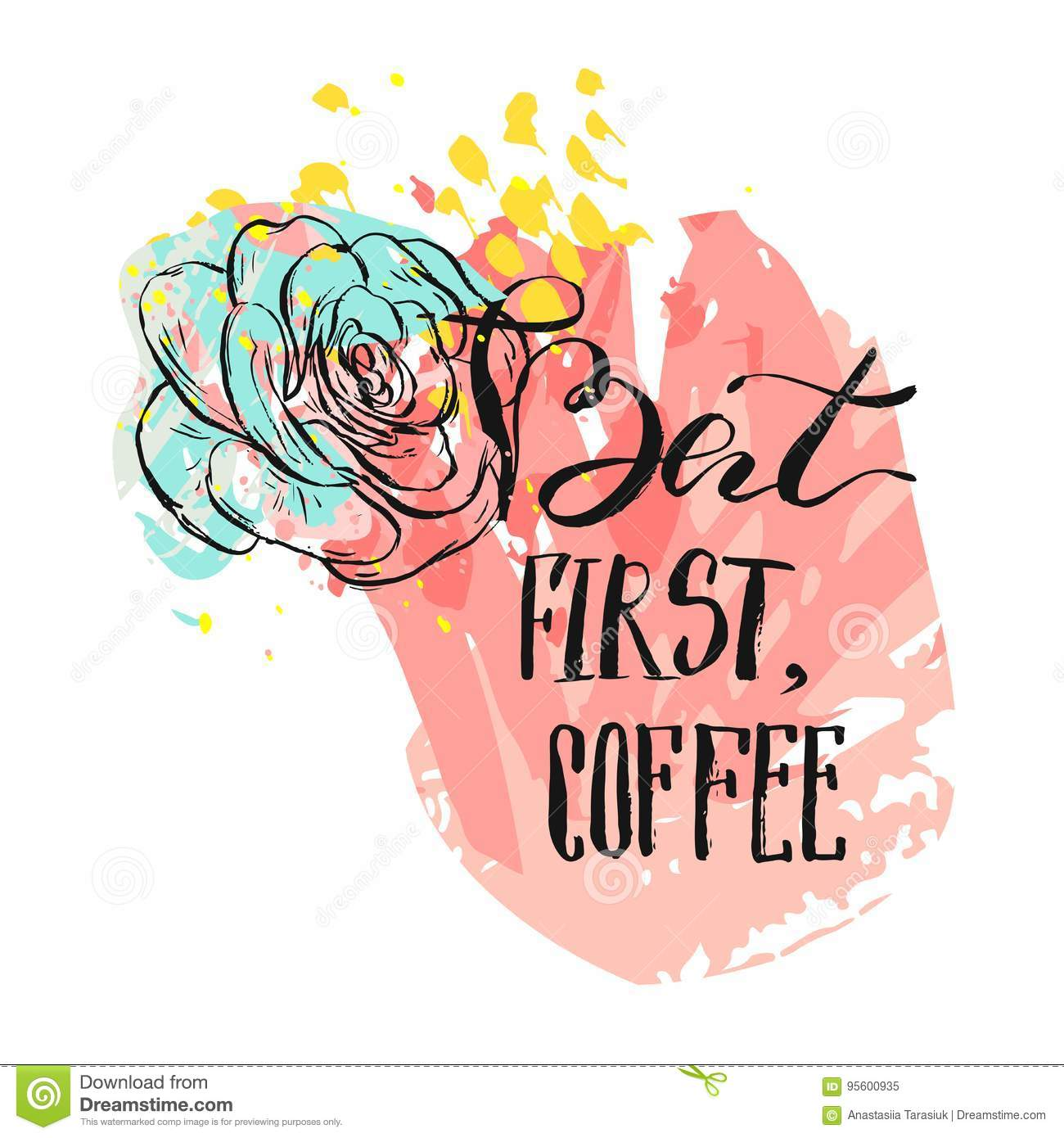 Hand drawn vector abstract drawing modern card template with handwritten ink lettering phase but first coffee and