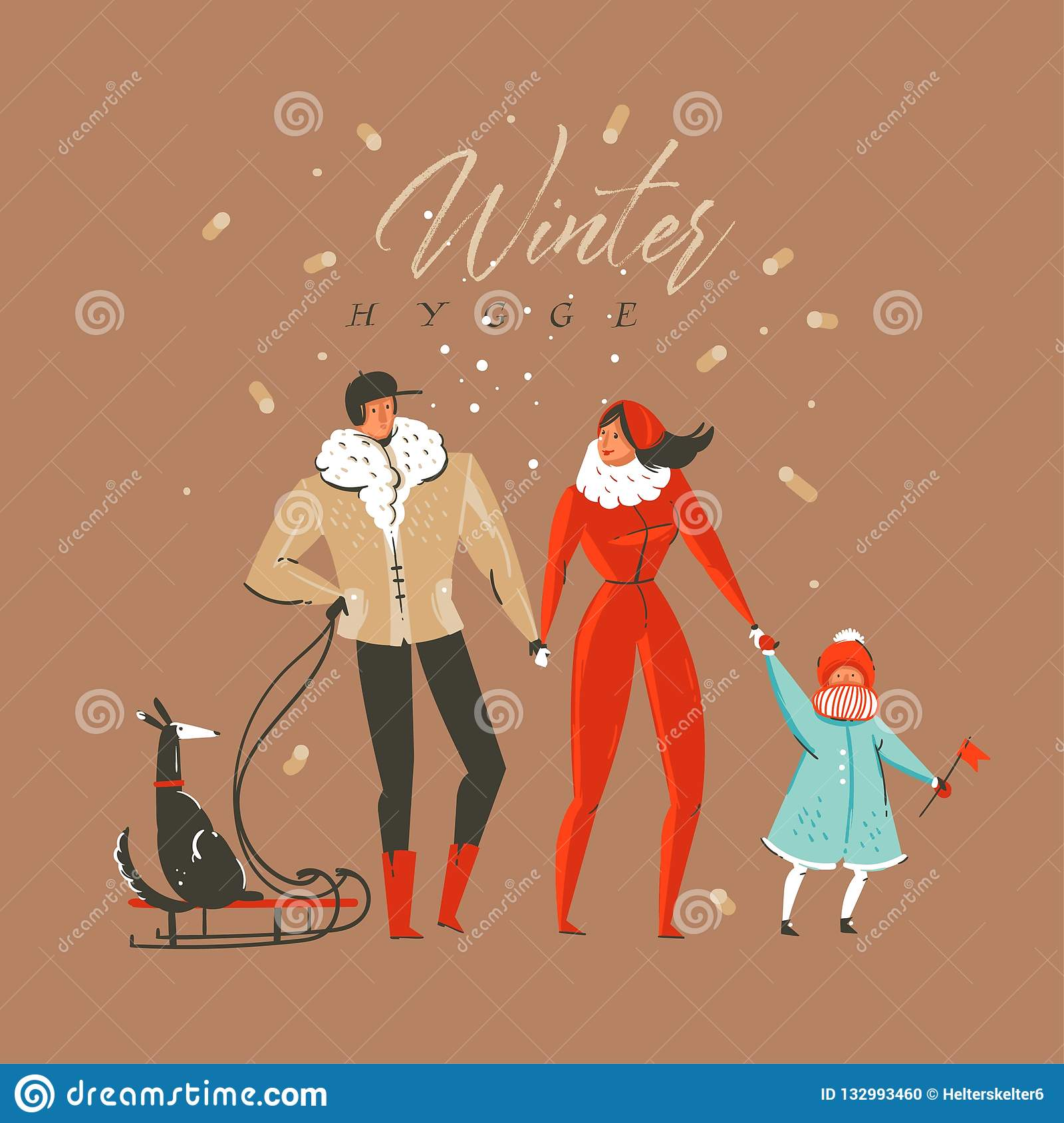 Hand drawn vector abstract fun Merry Christmas and Happy New Year time cartoon illustration greeting card with family