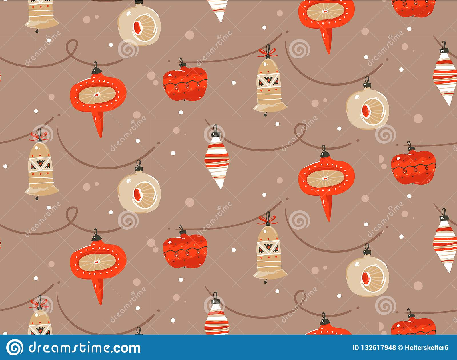 Hand drawn vector abstract fun Merry Christmas and Happy New Year time cartoon rustic festive seamless pattern with cute