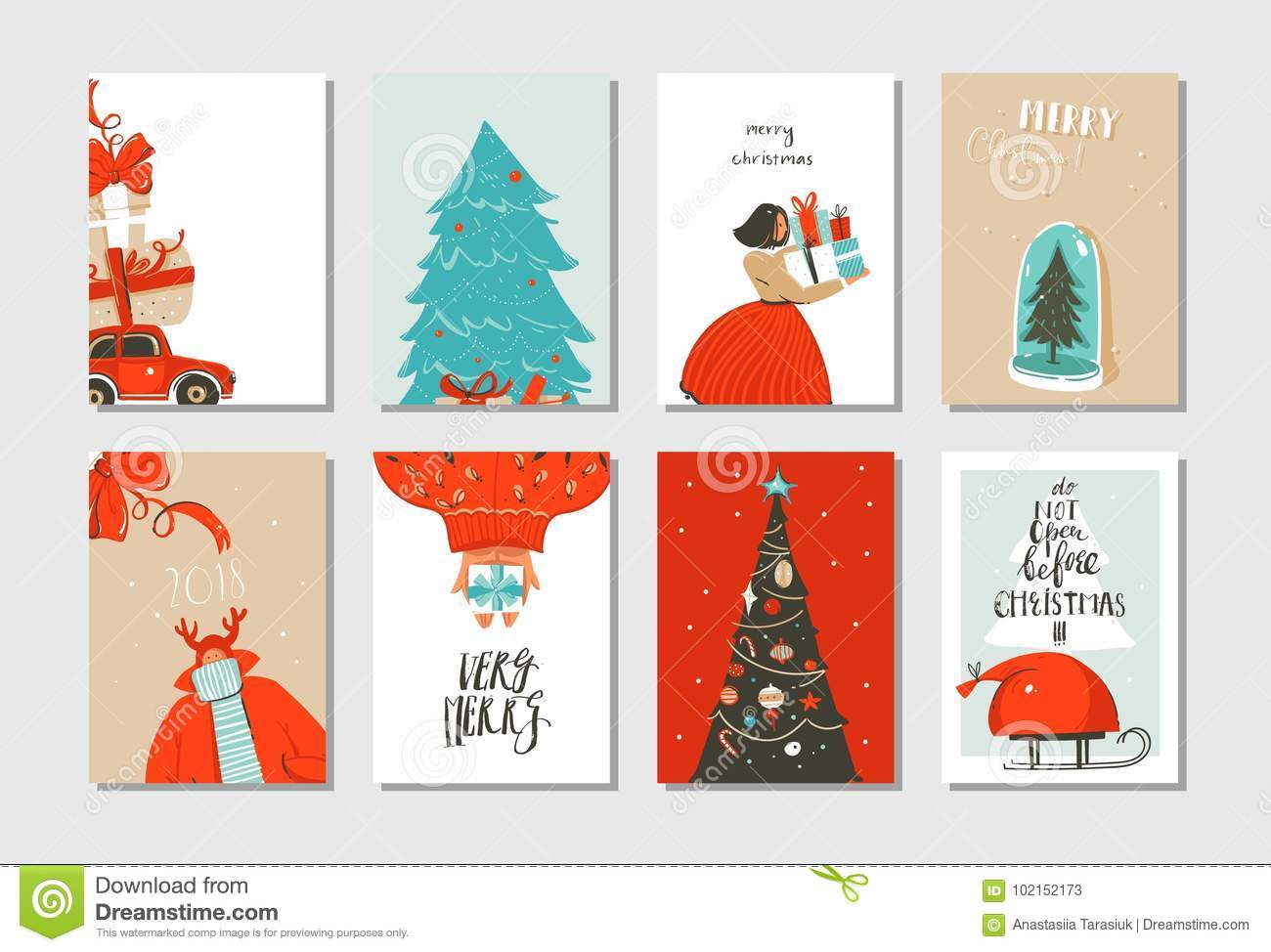 Hand drawn vector abstract fun Merry Christmas time cartoon cards collection set with cute illustrations,surprise gift