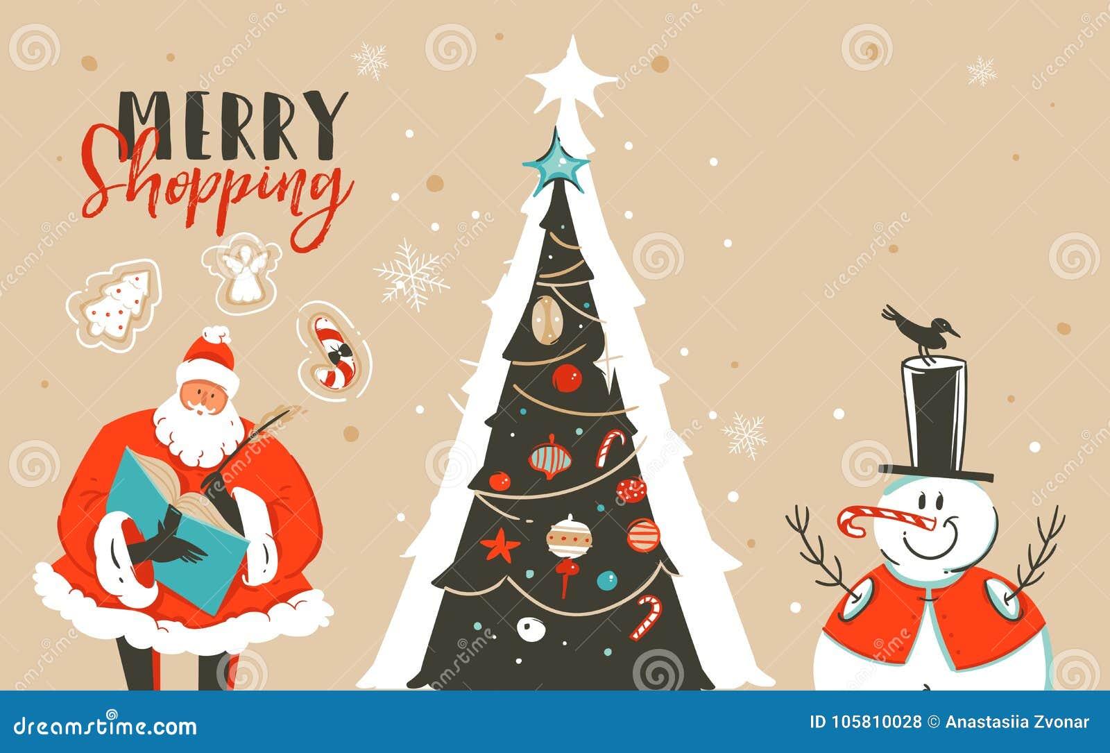 Hand Drawn Vector Abstract Fun Merry Christmas Time Cartoon ...