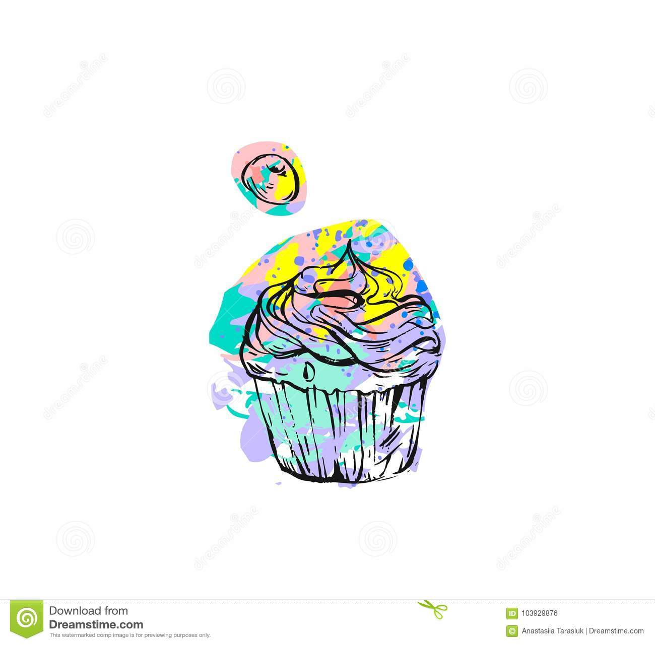 Hand Drawn Vector Abstract Graphic Creative Modern Cake Bakery