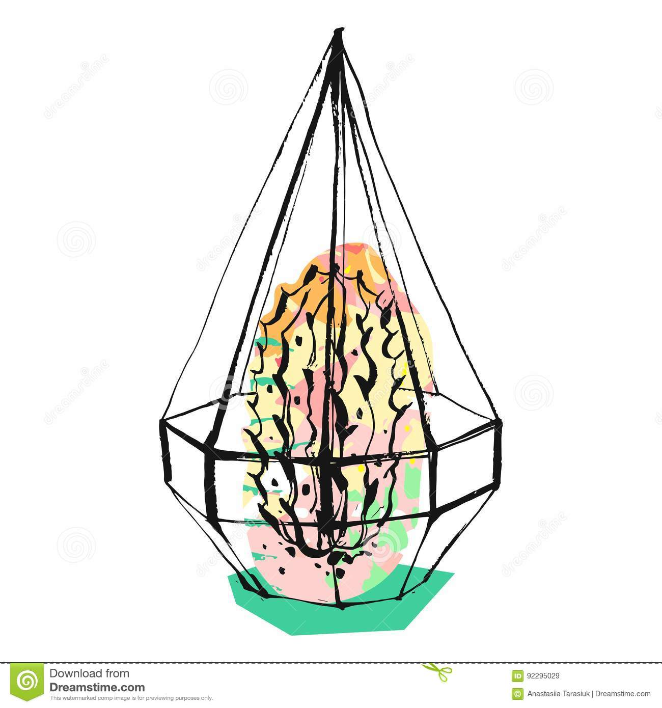 Hand Drawn Vector Abstract Graphic Illustration With Succulent Plant In Glass Rough Painted Terrarium In Pastel Pink Stock Vector Illustration Of Contained Floral 92295029