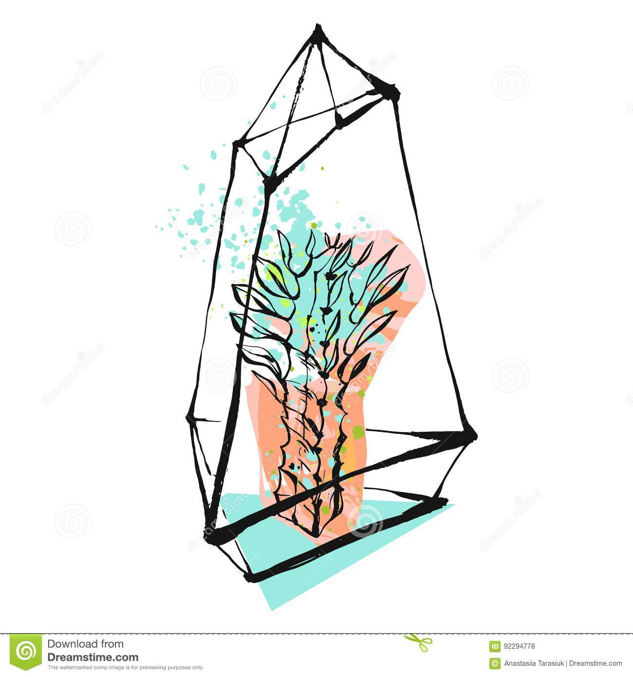 Hand Drawn Vector Abstract Graphic Illustration With Succulent Plant In Glass Rough Painted Terrarium In Pastel And Stock Vector Illustration Of Design Modern 92294778