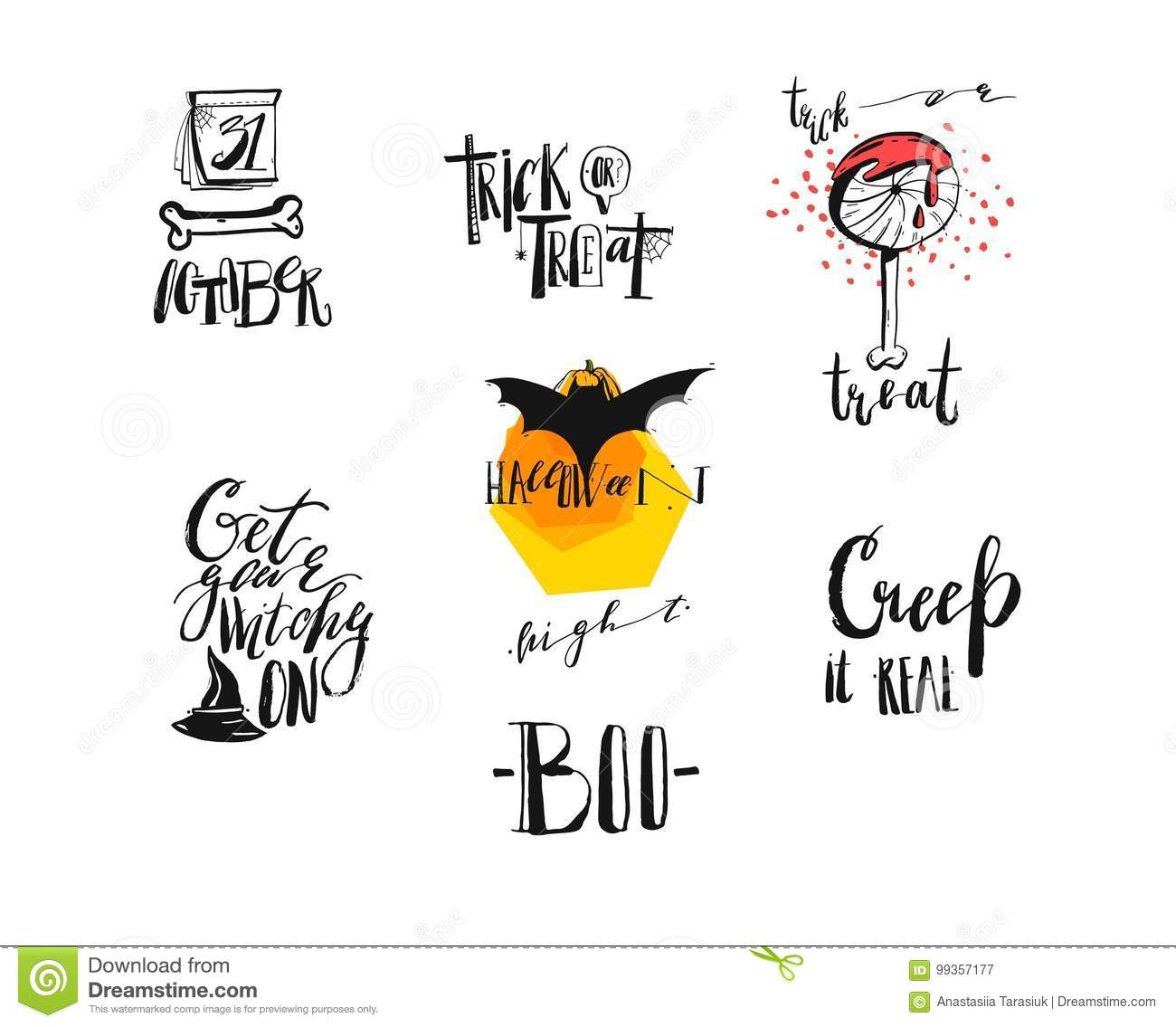 hand drawn vector abstract handwritten modern calligraphy halloween