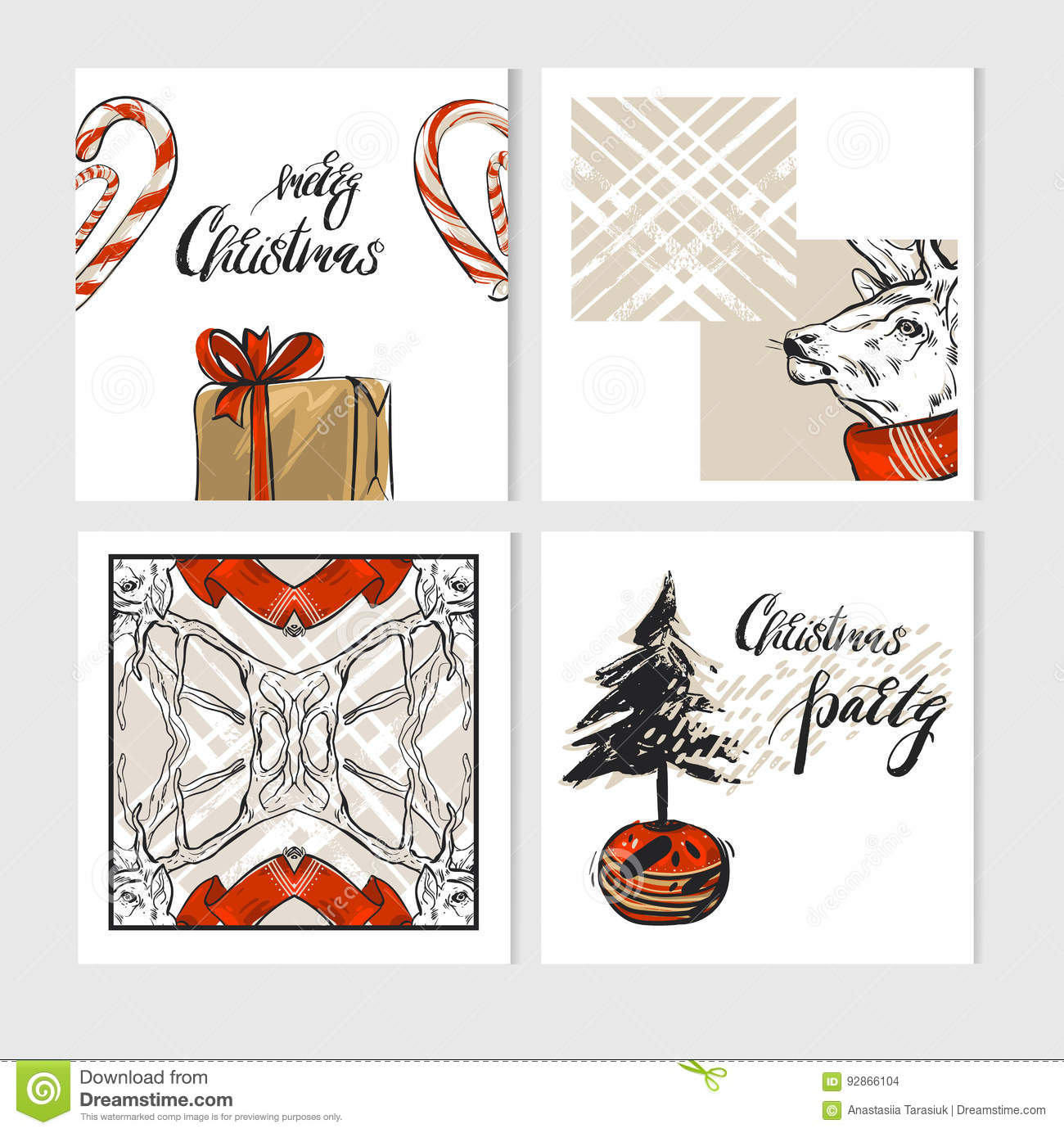 Hand Drawn Vector Abstract Merry Christmas Greeting Cards Template