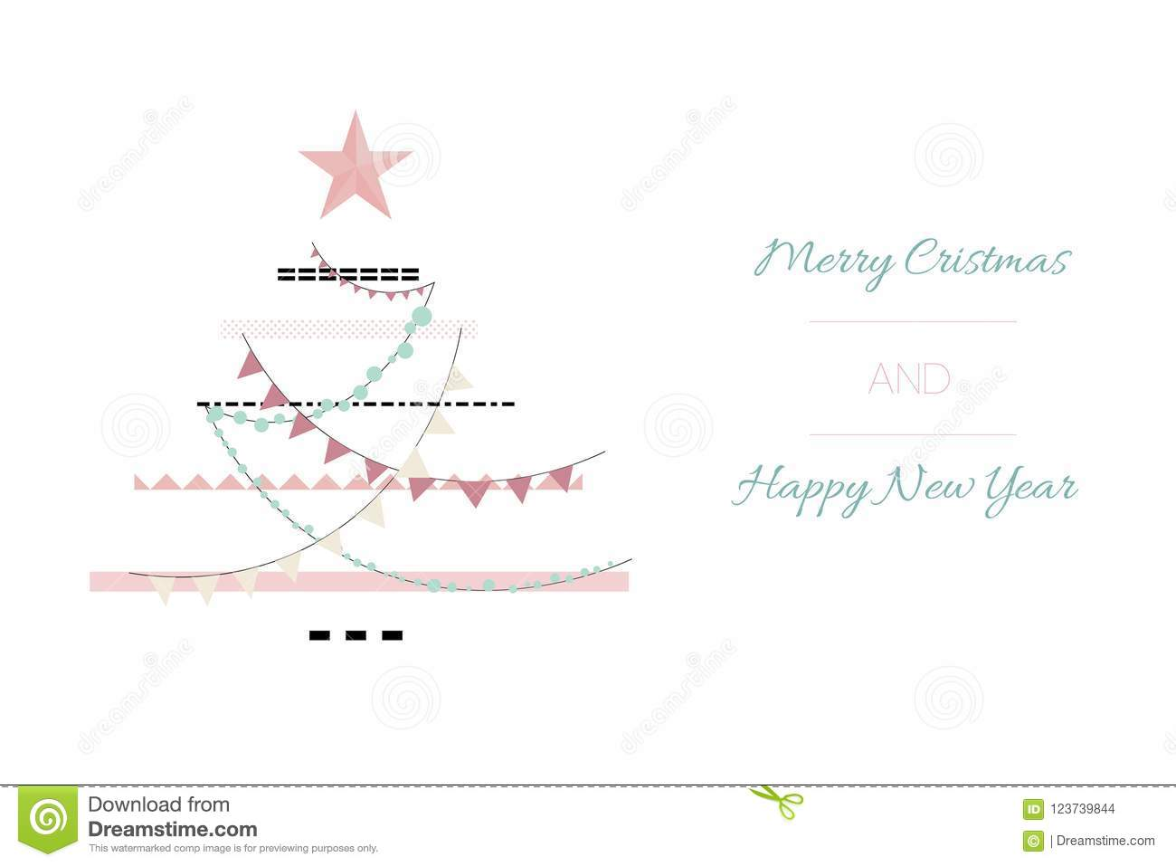 Hand drawn vector abstract Merry Christmas and Happy New Year time vintage cartoon illustrations greeting card template.