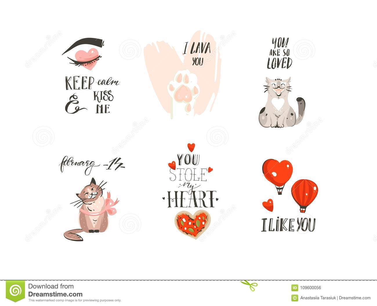Hand Drawn Vector Abstract Modern Cartoon Happy Valentines Day