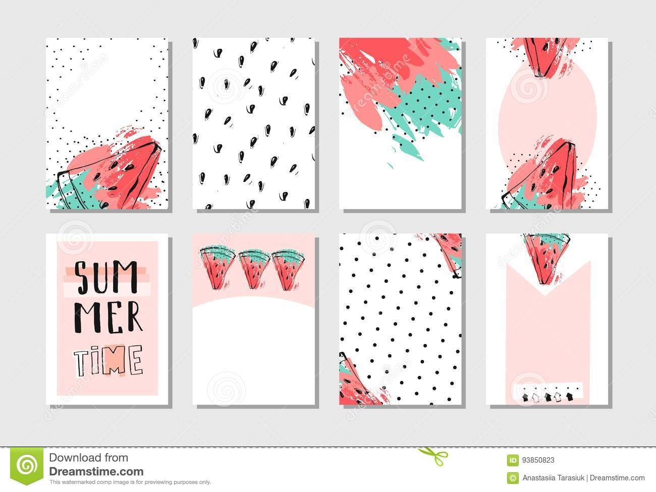 hand drawn vector abstract textured funny summer time cards set