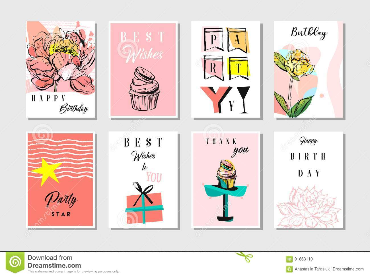Hand Drawn Vector Abstract Textured Unusual Artistic Collage Happy Inside Birthday Card Collage Template