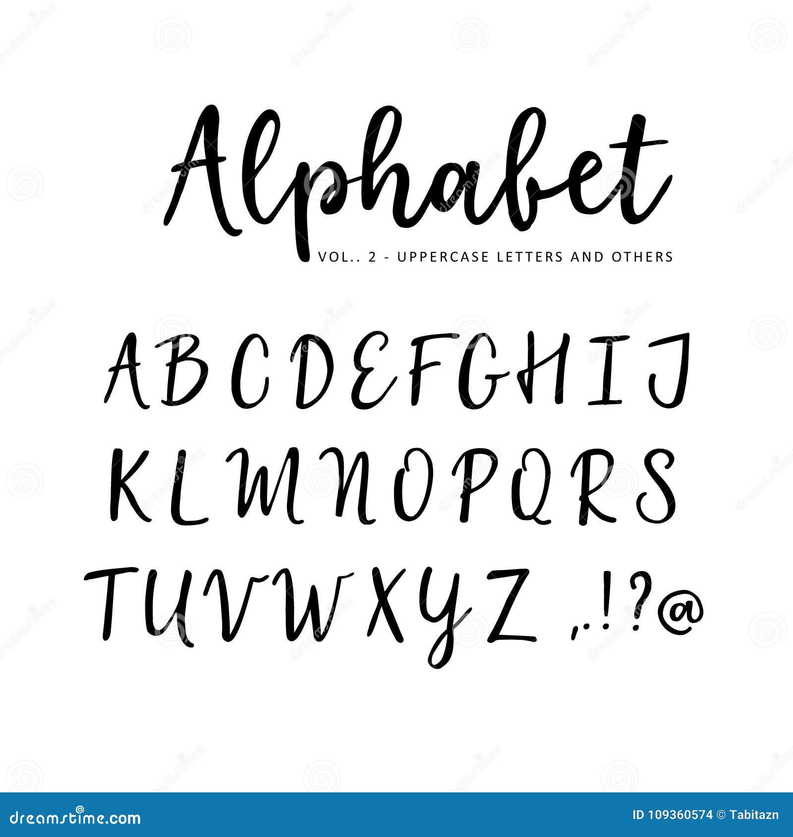 Hand Drawn Vector Alphabet  Brush Script Font  Isolated Upper Case