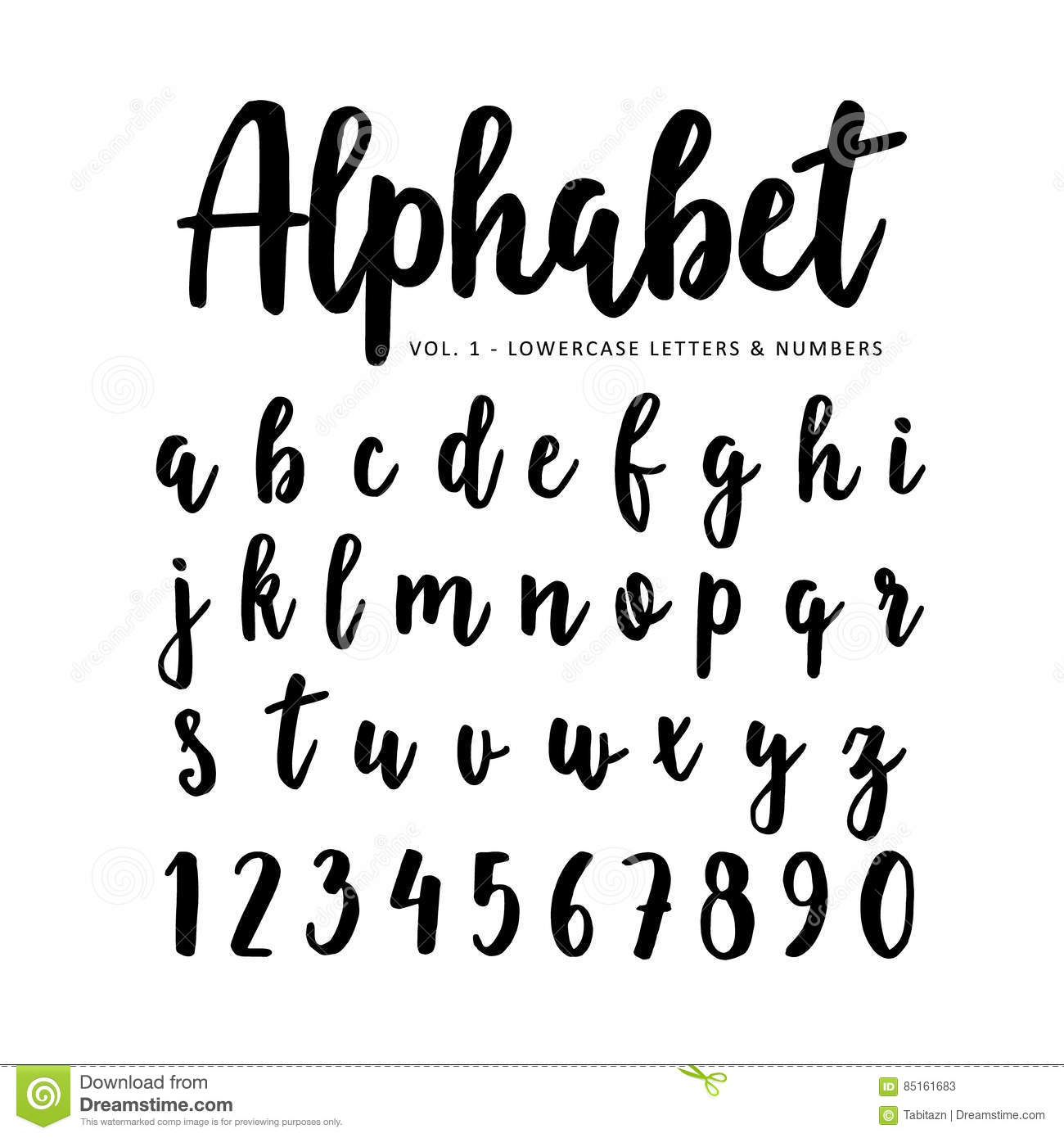 Hand drawn ink brush latin alphabet cartoon vector