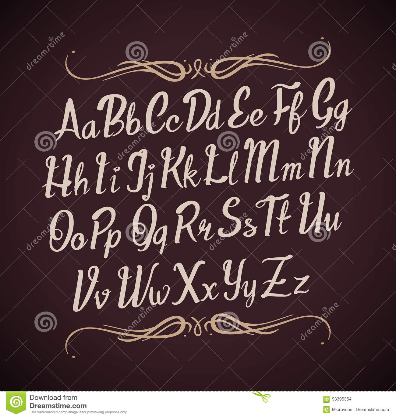 Hand drawn calligraphy alphabet vector illustration